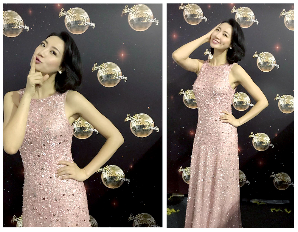 Beautiful ANGELEYE Strictly come dancing dress worn by fashion designer Angel Xue