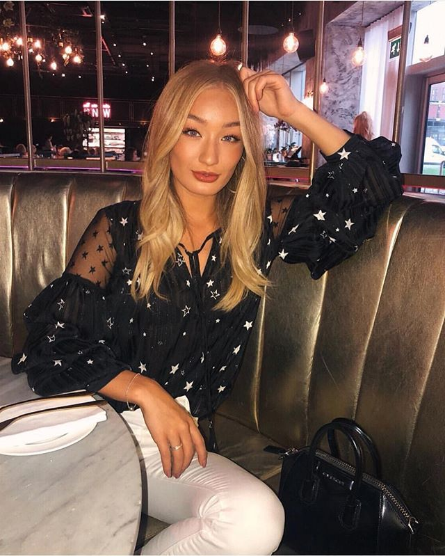 Bethan Sowerby Fashion Instagram Blogger in ANGELEYE Star Print Top