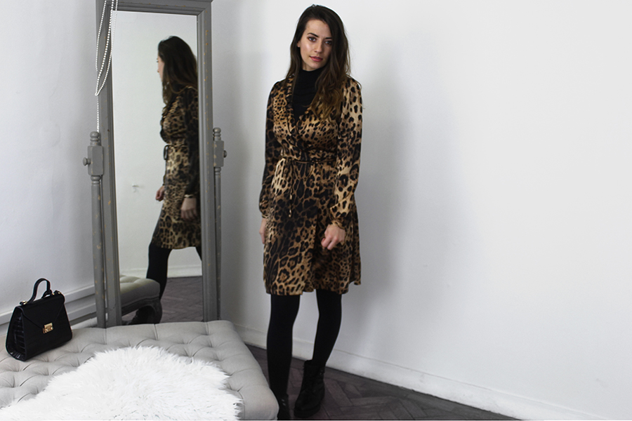 Turtle Neck Dress Styling Leopard Print Angeleye