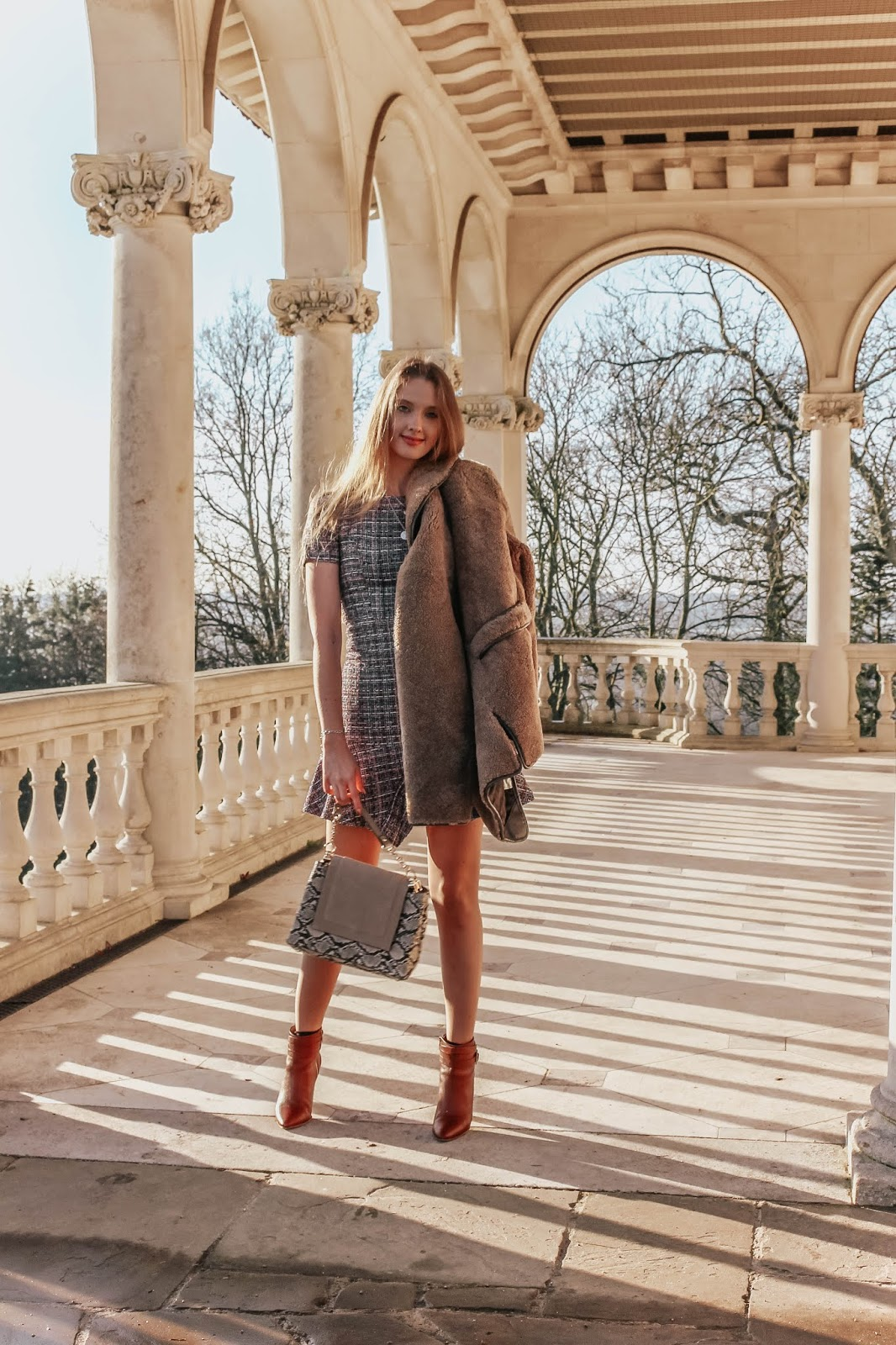 A Glass of Ice fashion blogger styling angeleye tweed dress