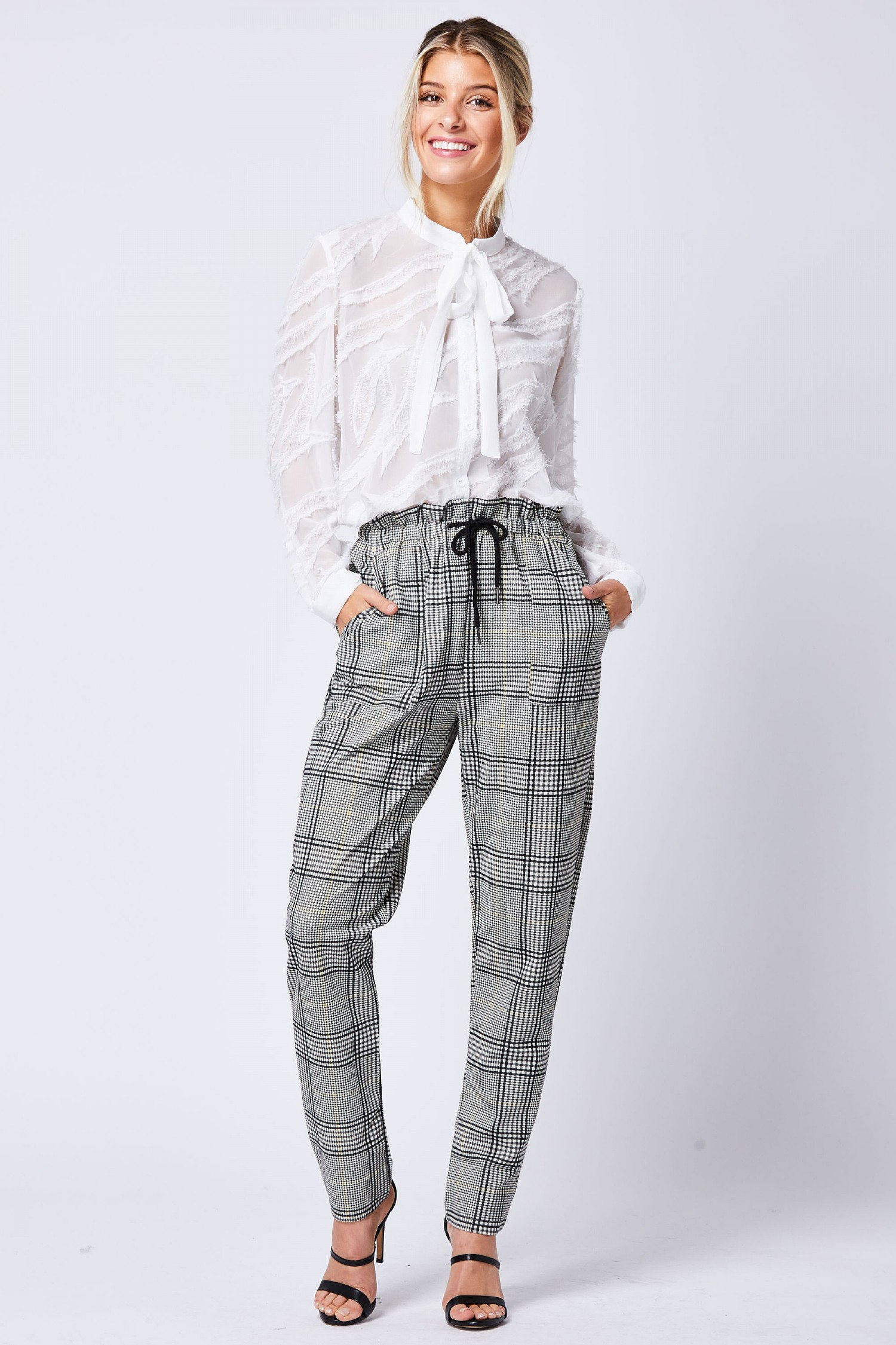 Grey Checked High Waisted Trousers