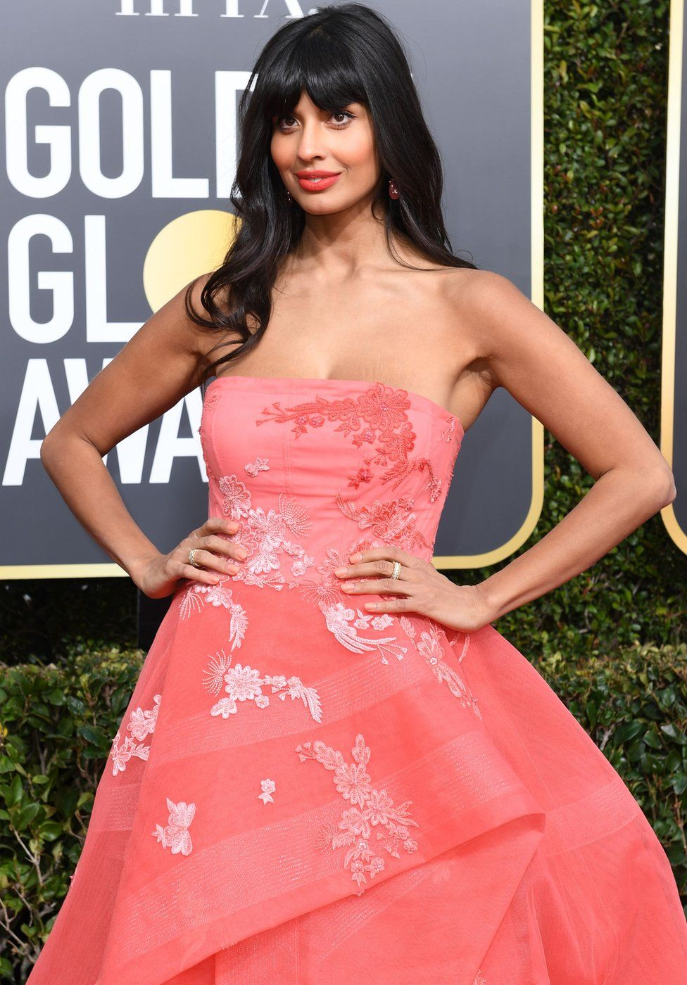 Jameela Jamil Pink Dress Floral Golden Globes 2019