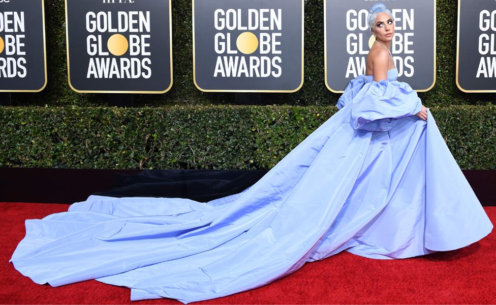 Lady Gaga Blue Dress Golden Globes 2019