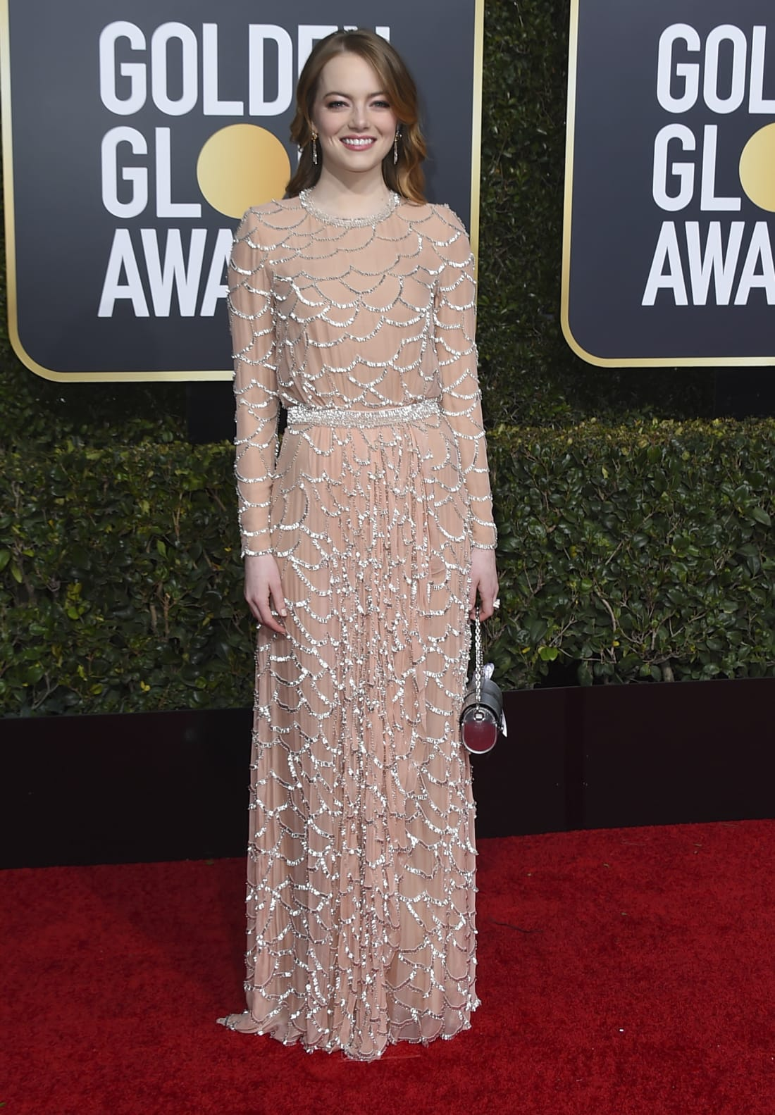 Emma Stone Nude Dress Golden Globes 2019