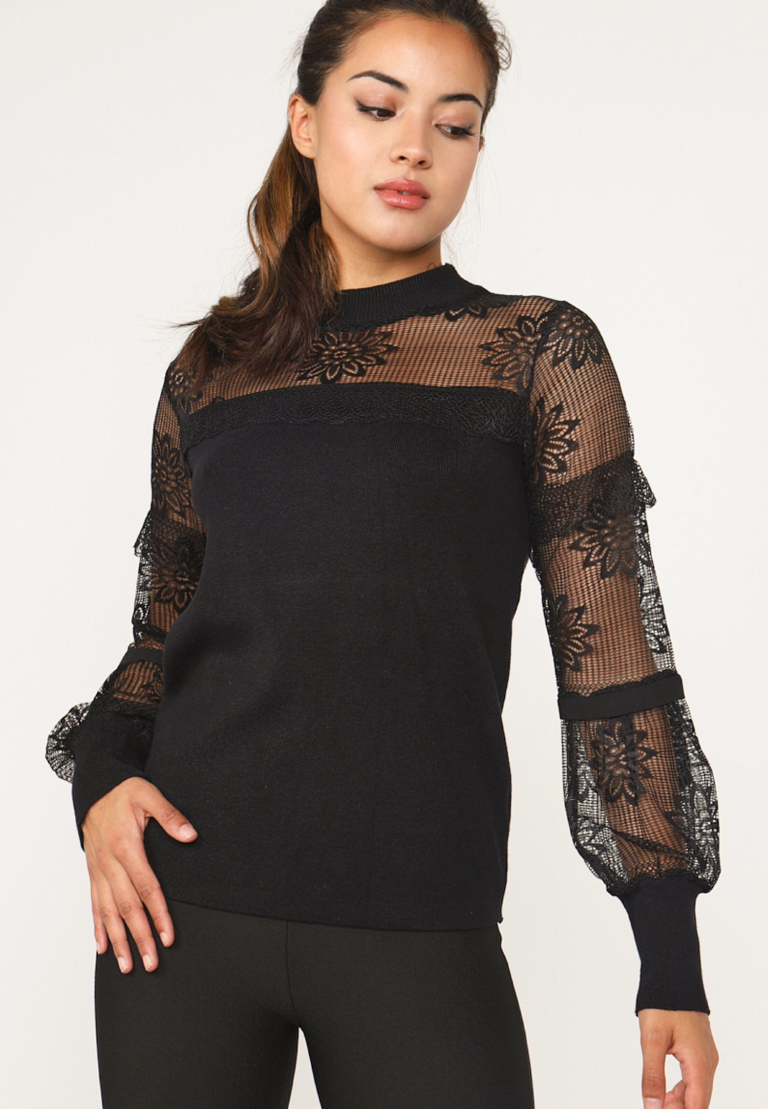 Image of Black Lace Long Sleeved Knit Top Clothing and Accessories - Clothing female ANGELEYE Collection 5055452052478