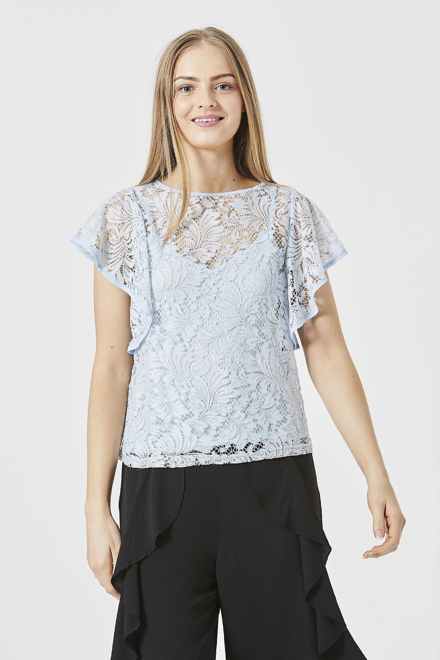 Light Blue Lace Top with Cami Lining
