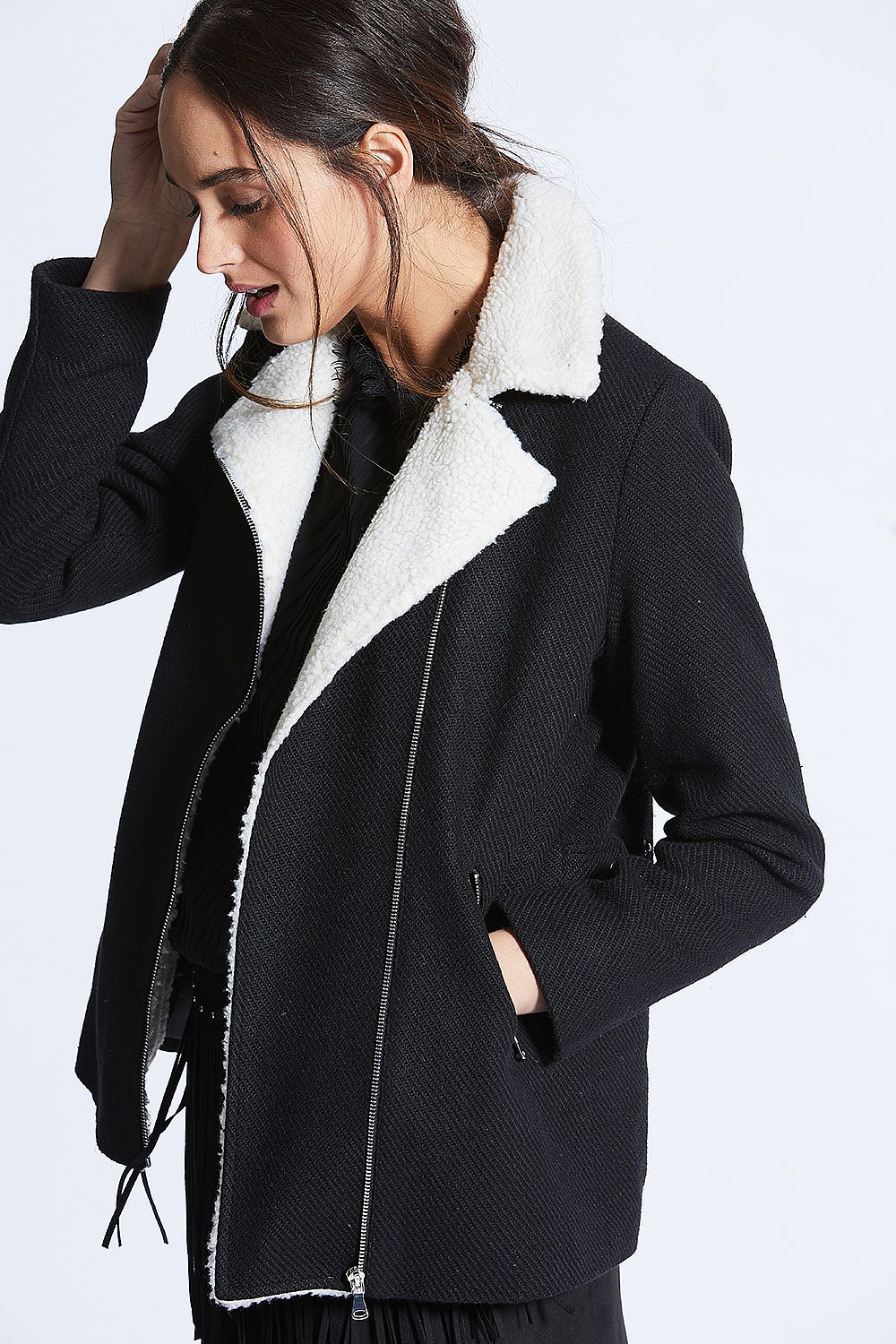 Black White Shearling Lined Coat