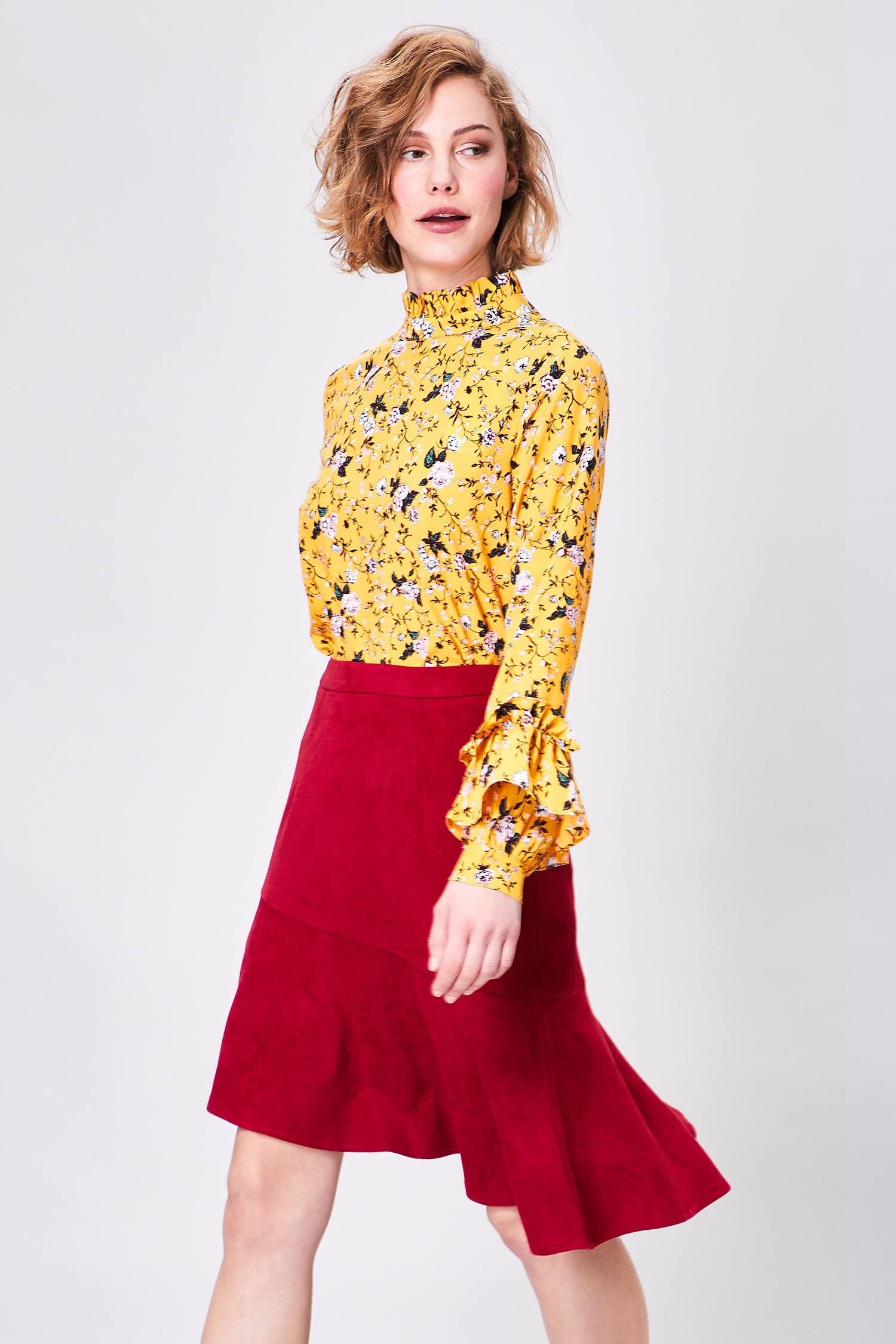 Red Suedette Asymetrical Skirt