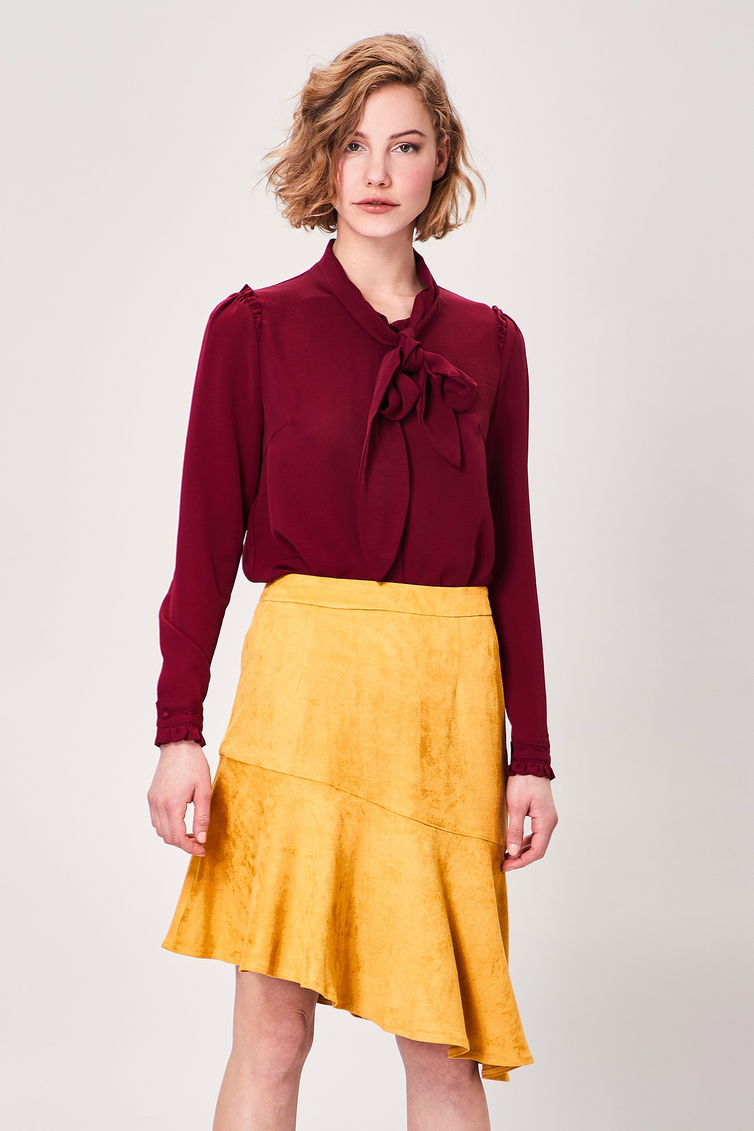 Yellow Suedette Asymetrical Skirt
