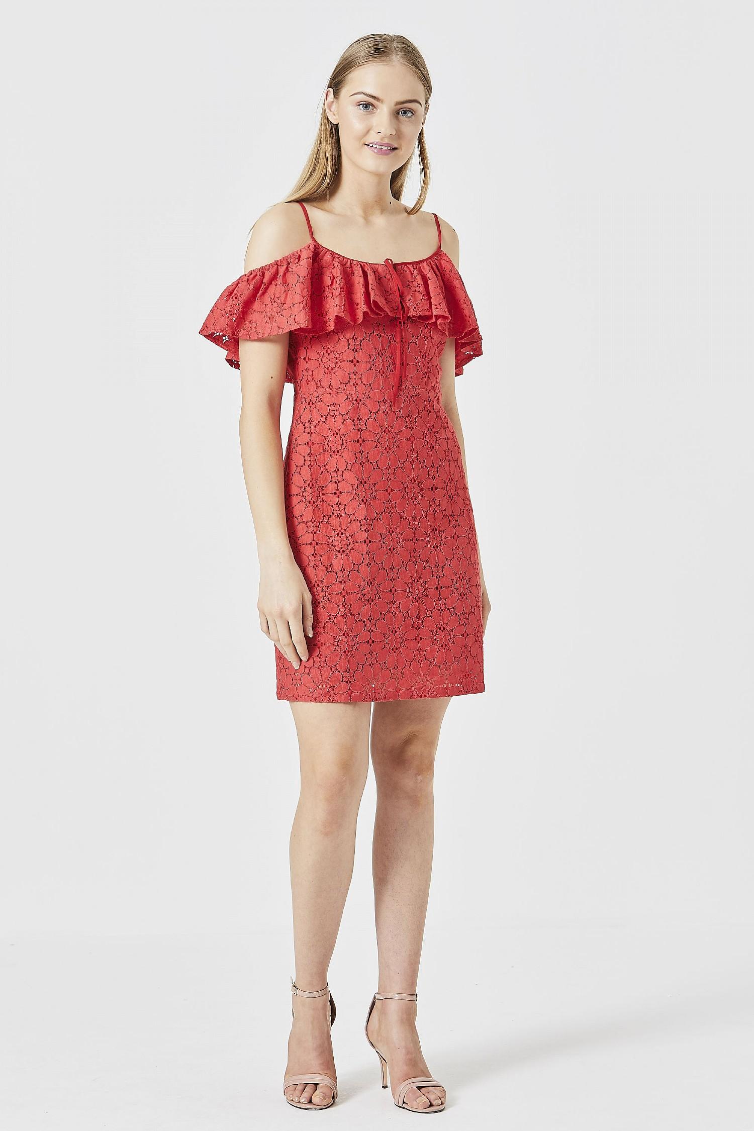 b730385d22df76 ANGELEYE Red Lace Off Shoulder Mini Dress