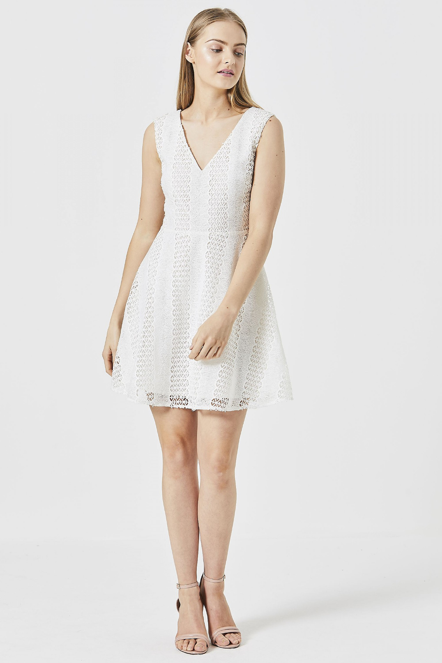 bd721b537cbc ANGELEYE White Lace A-line Dress