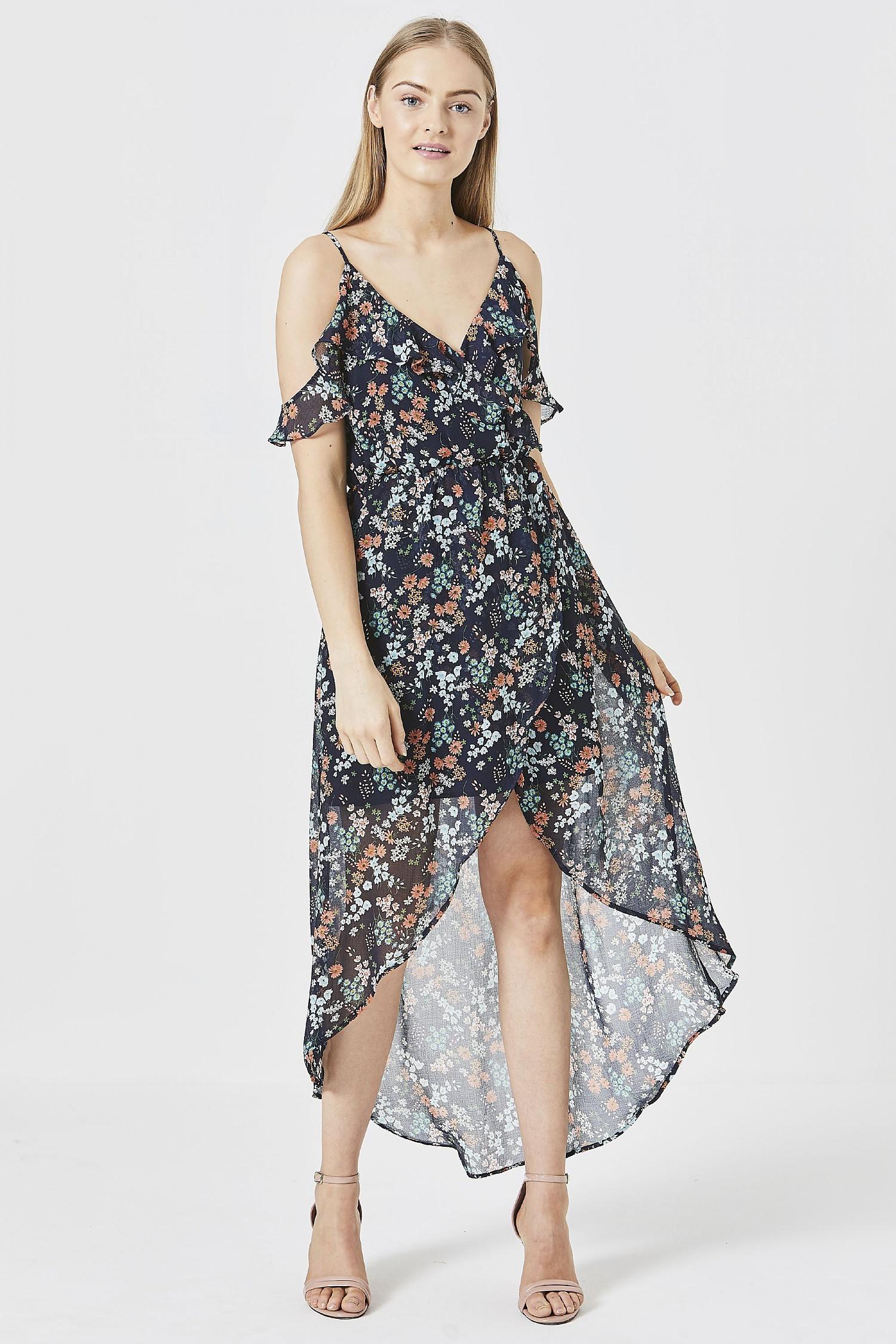 b3831fd9eaa13e ANGELEYE Navy Floral Ruffled Cami Dress