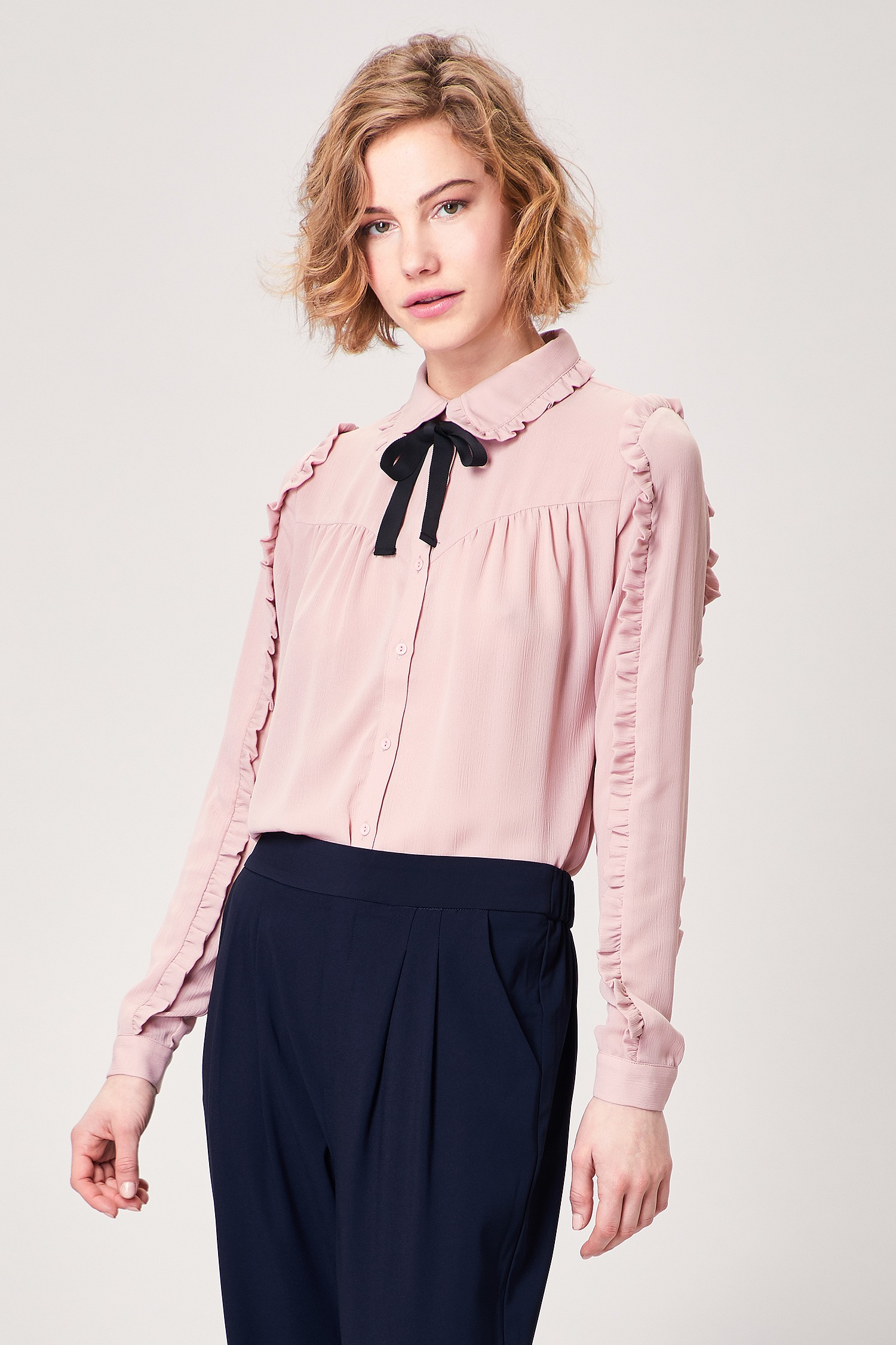 Blush Pink Pussy Bow Blouse