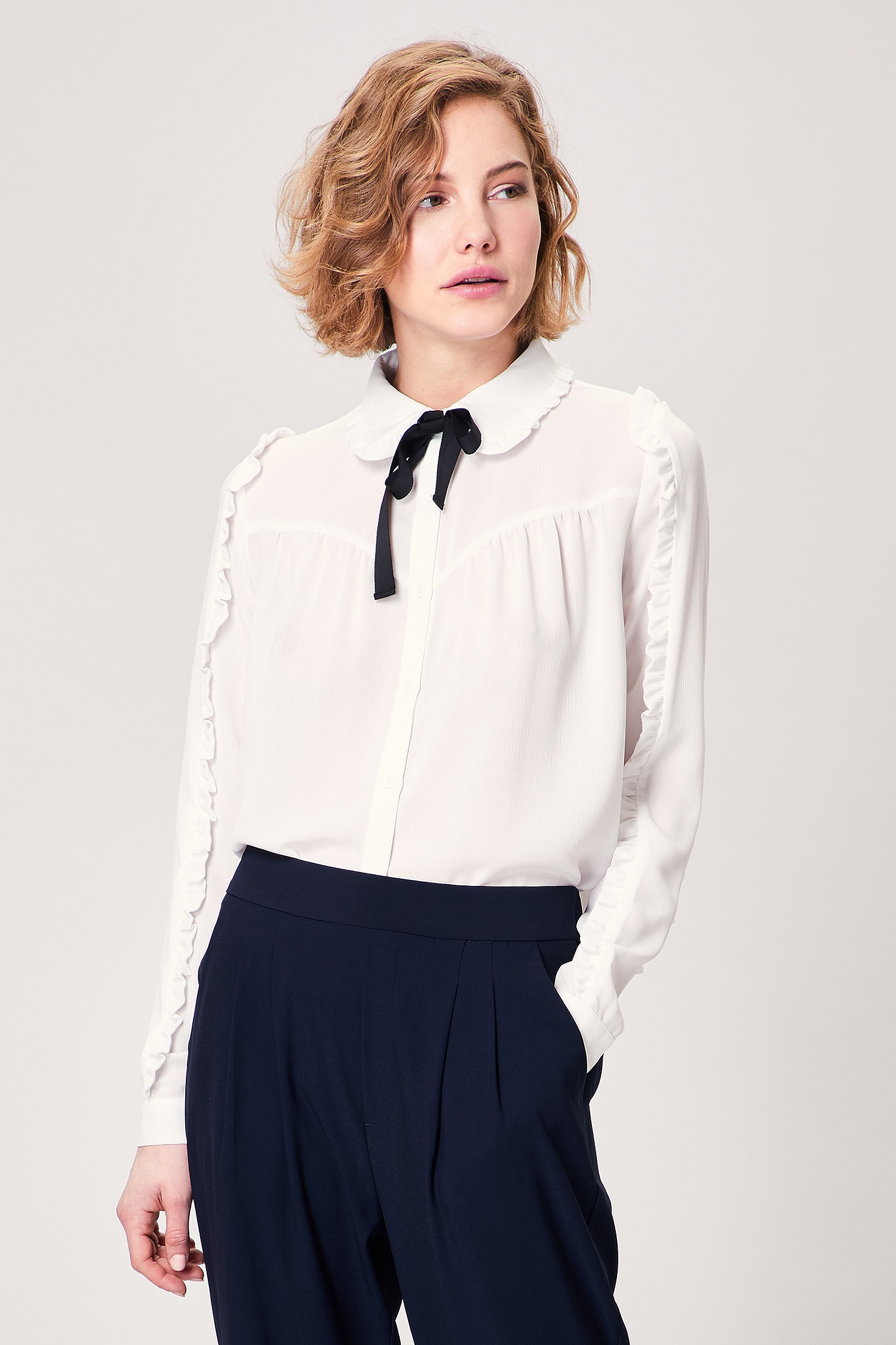White Pussy Bow Blouse