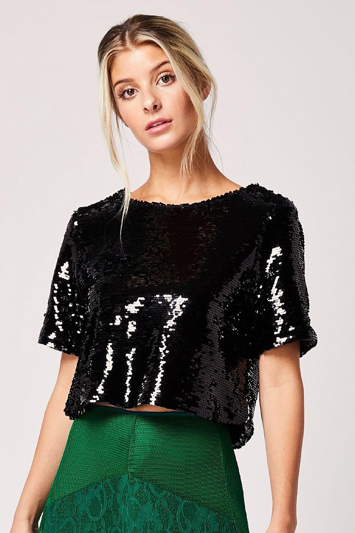 Black Sequin Short Sleeved Crop