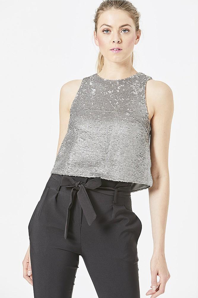 Silver Sequin Vest Top