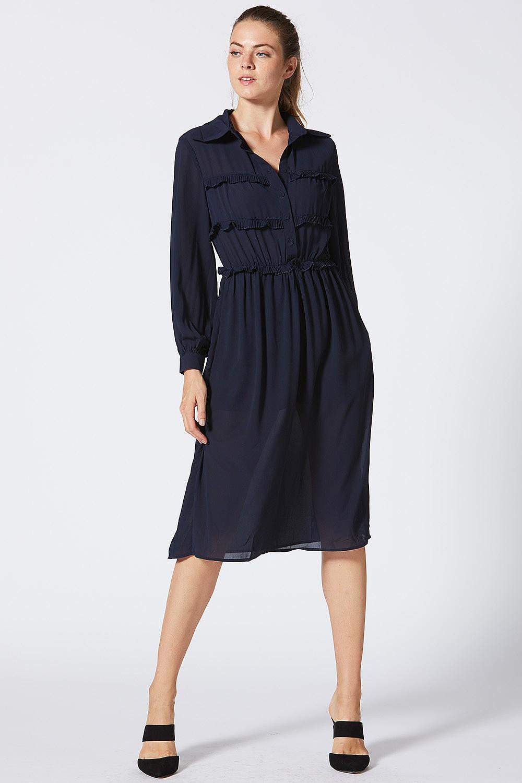 848e41c56dab Navy Midi Dress With Sleeves Uk