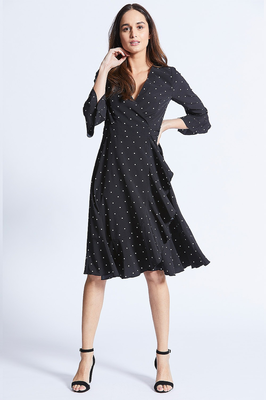 81b9dd4e501ebc Black Polka Dot Midi Wrap Dress
