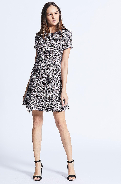 dd2226487c08 ANGELEYE Multi Tweed Ruffle Checked Mini Dress