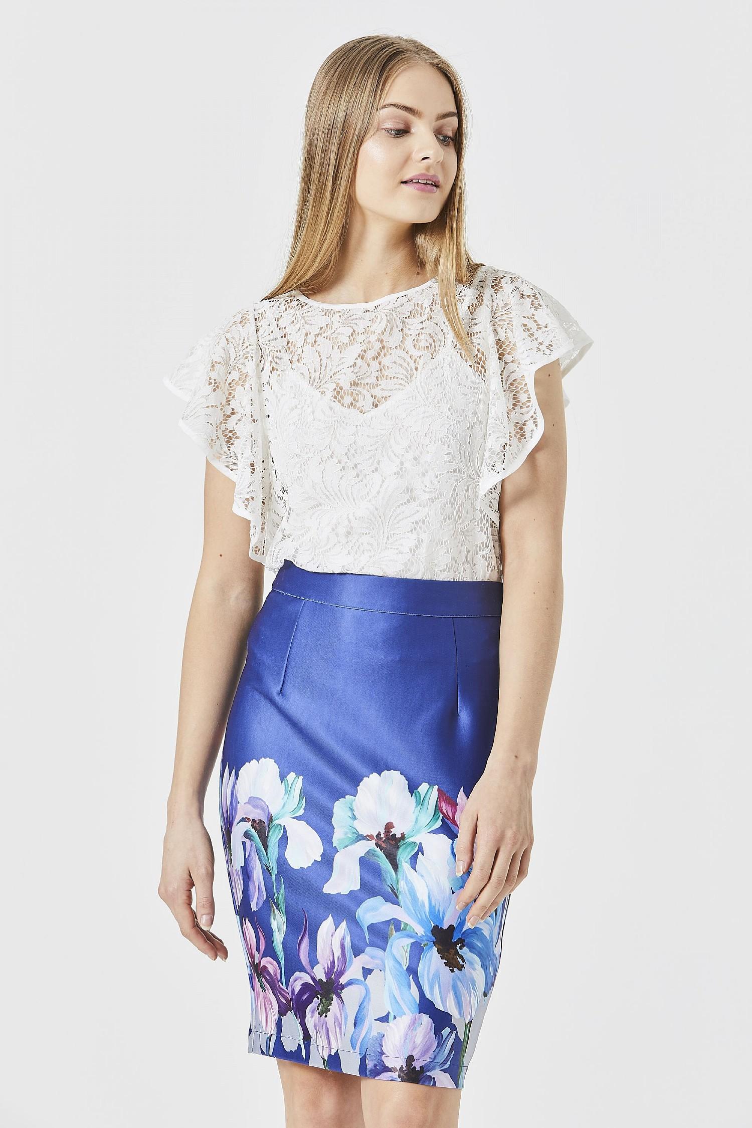 Navy Floral Pencil Midi Skirt