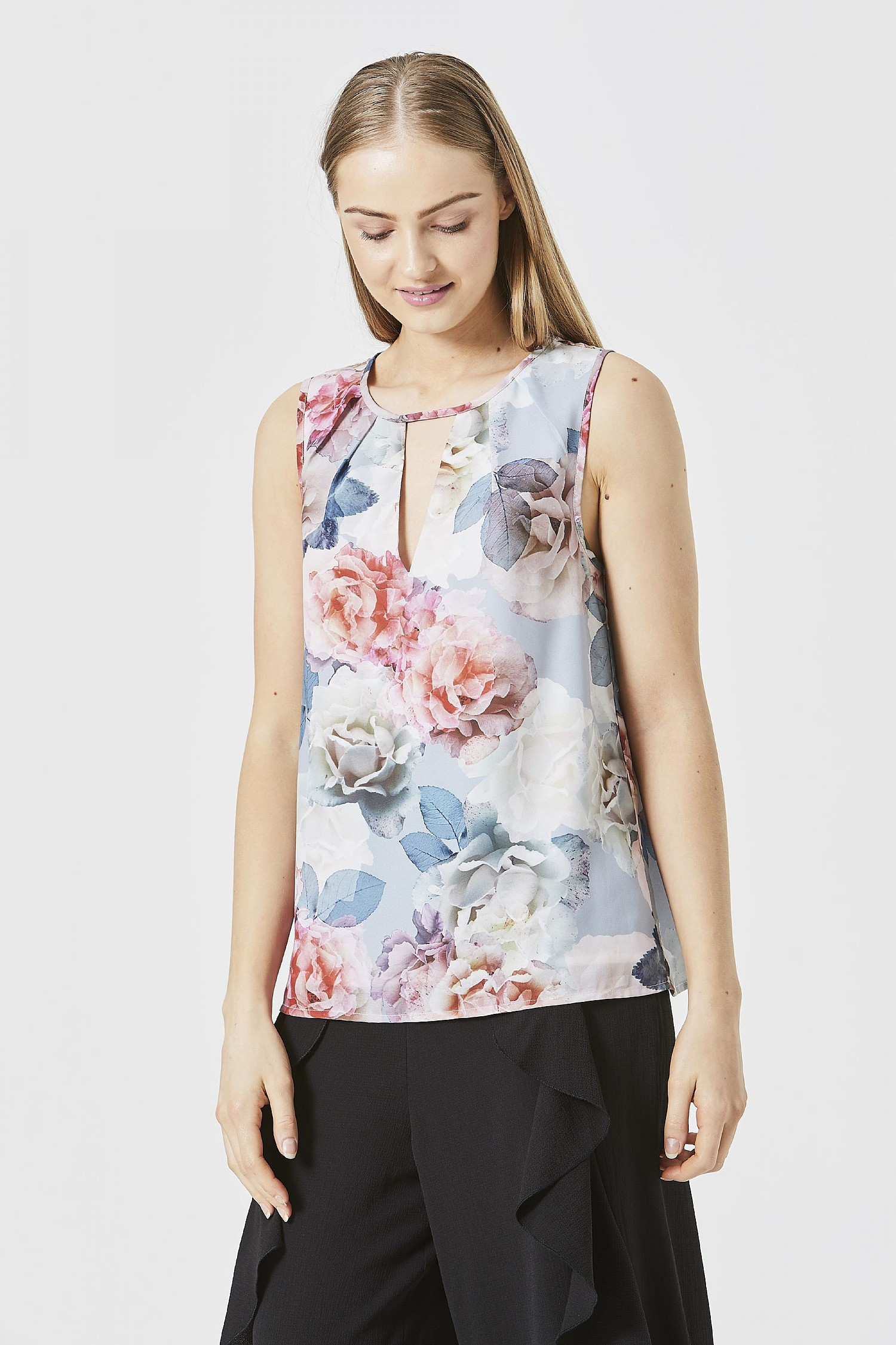 Pink White Floral Keyhole Blouse