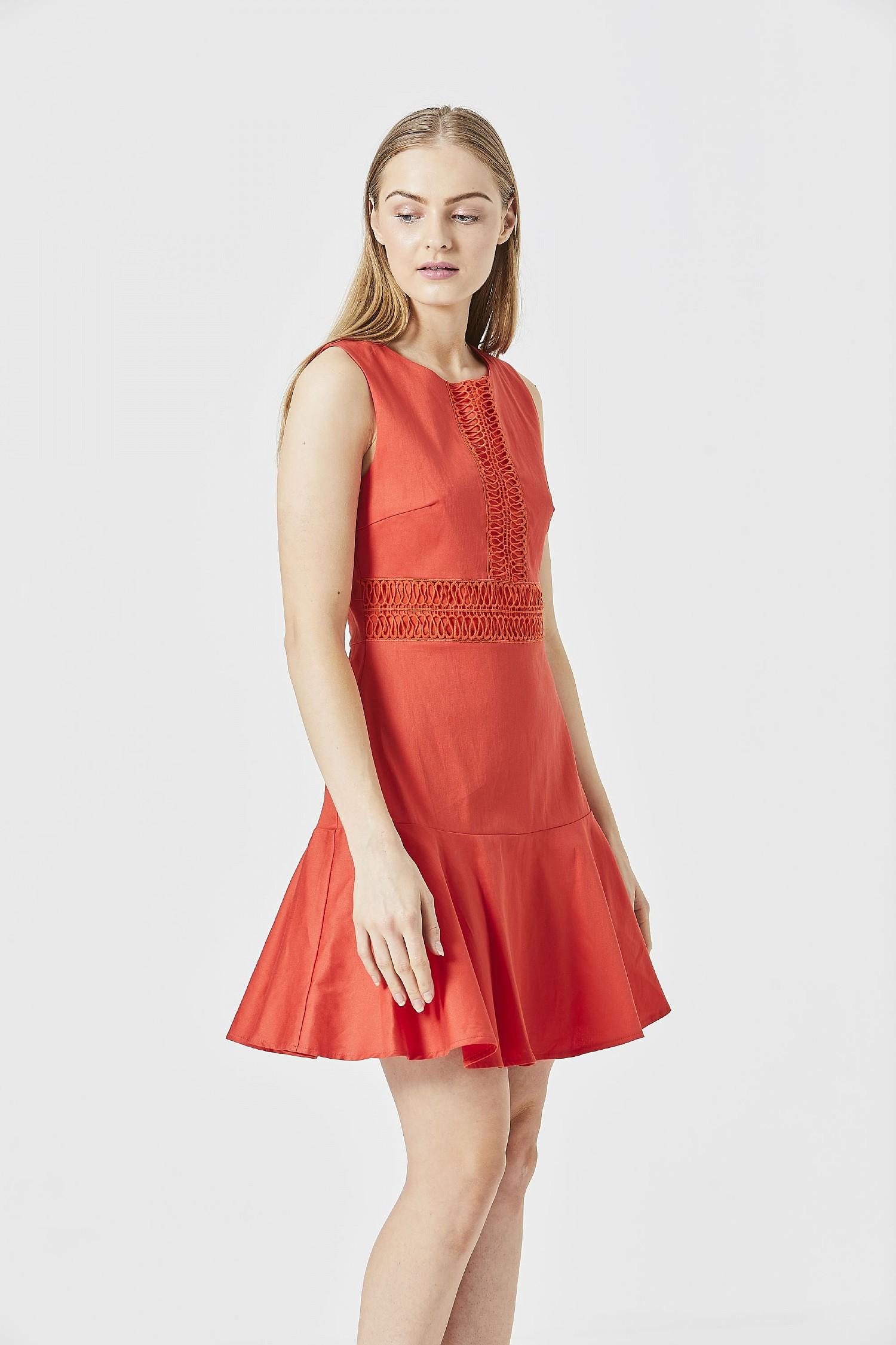 Red Sleeveless Lace Skater Mini Dress