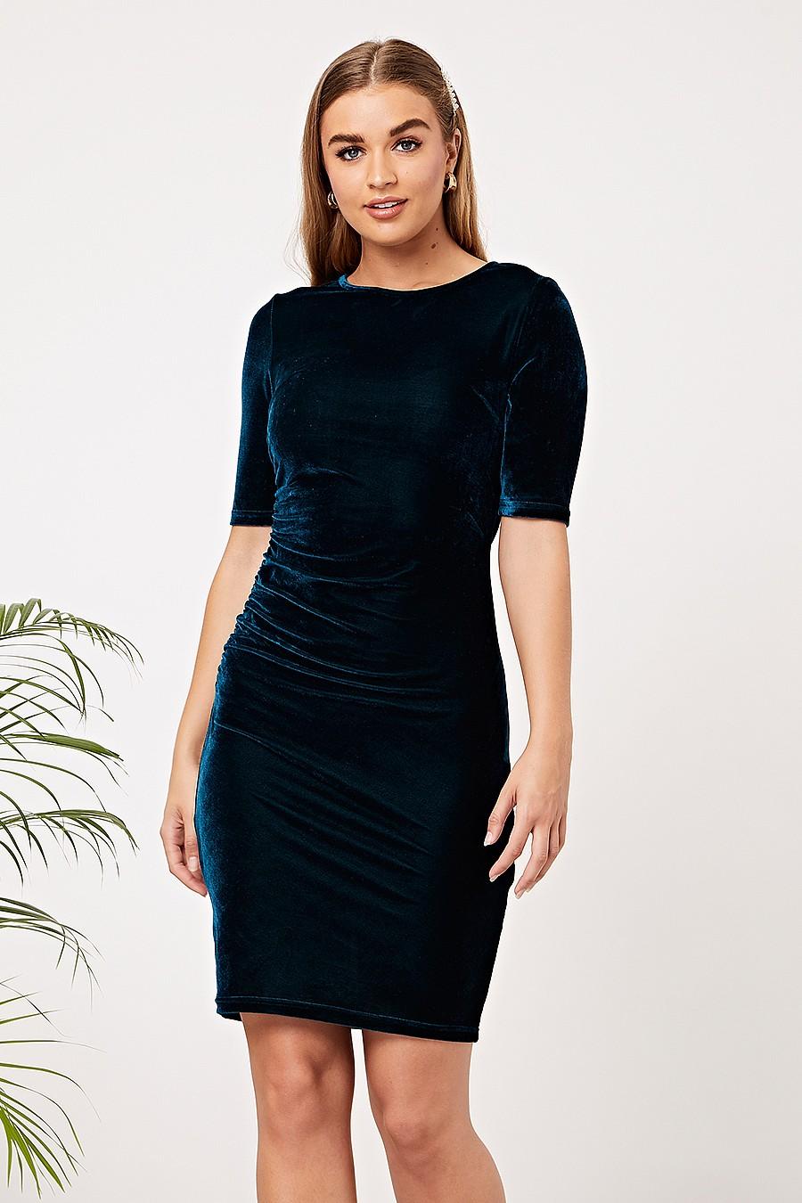 Angeleye Teal Velvet Mini Dress
