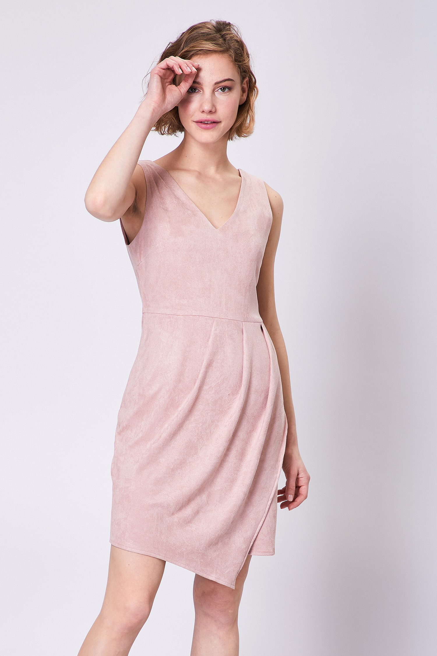 Pink Suedette V Neck Mini Dress