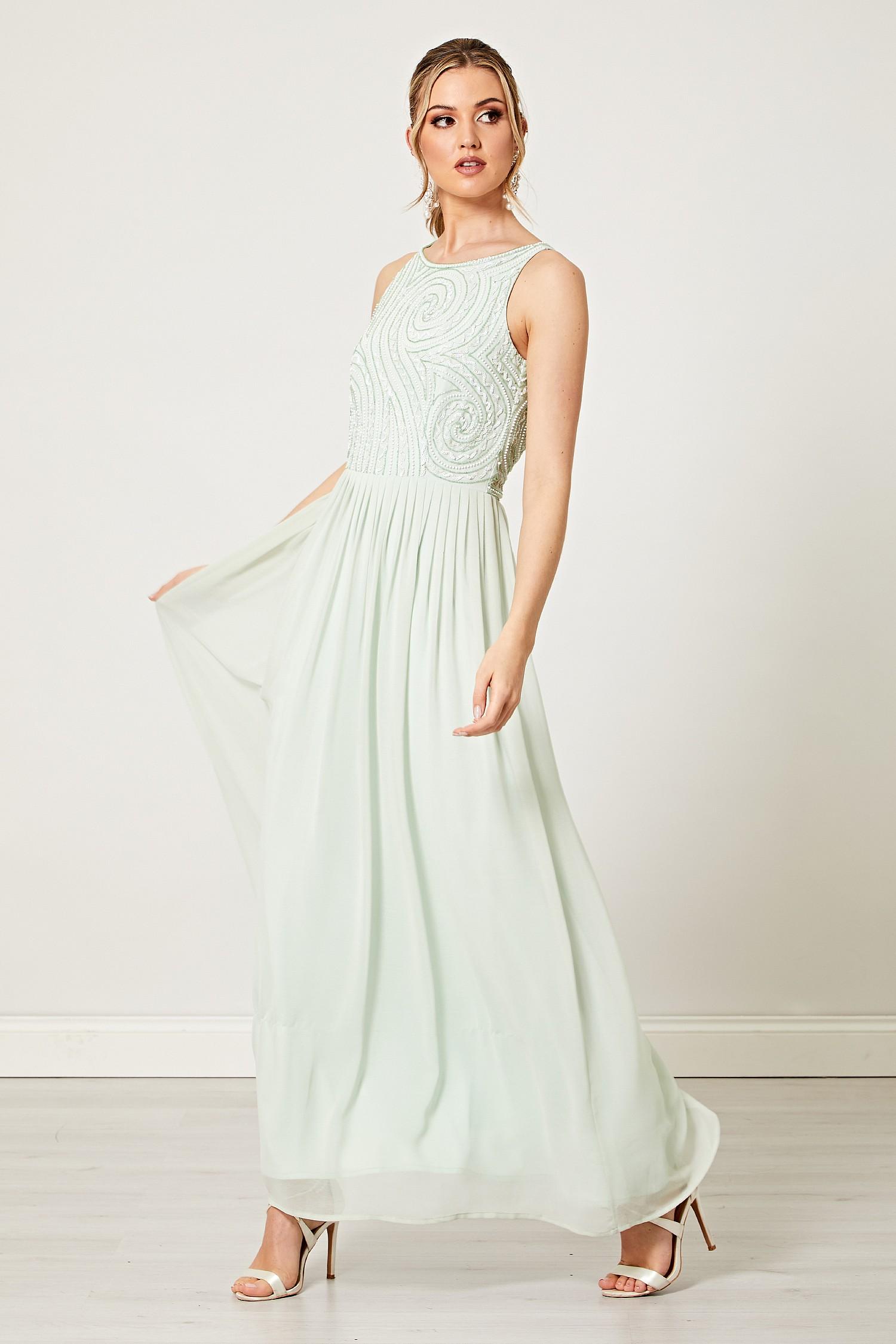 28b4f687d95b Mint Green Embellished Beaded Maxi Dress
