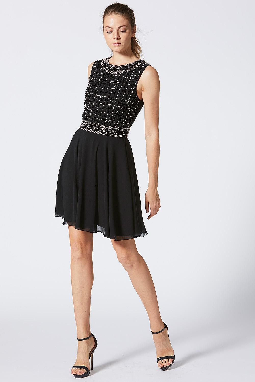 70fe4e8ccd4a ANGELEYE Black Embellished Grid Bodice Skater Dress