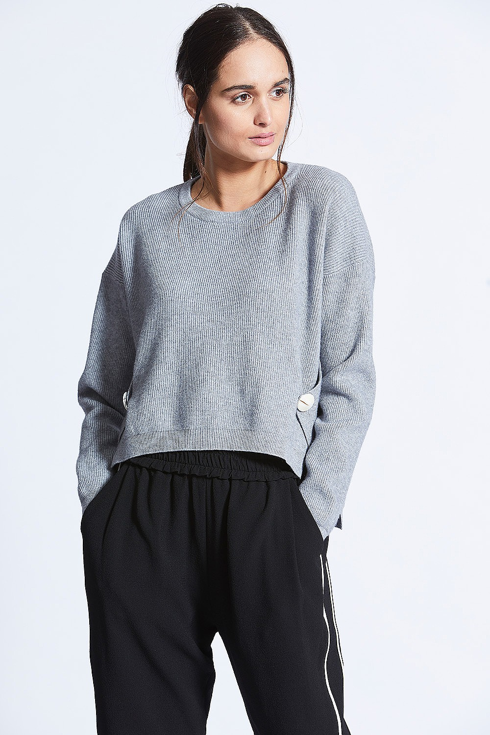 Grey Knit With Button Wrap