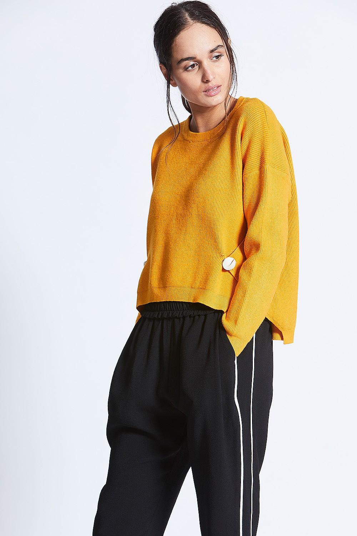 Mustard Yellow Knit Button Sweat