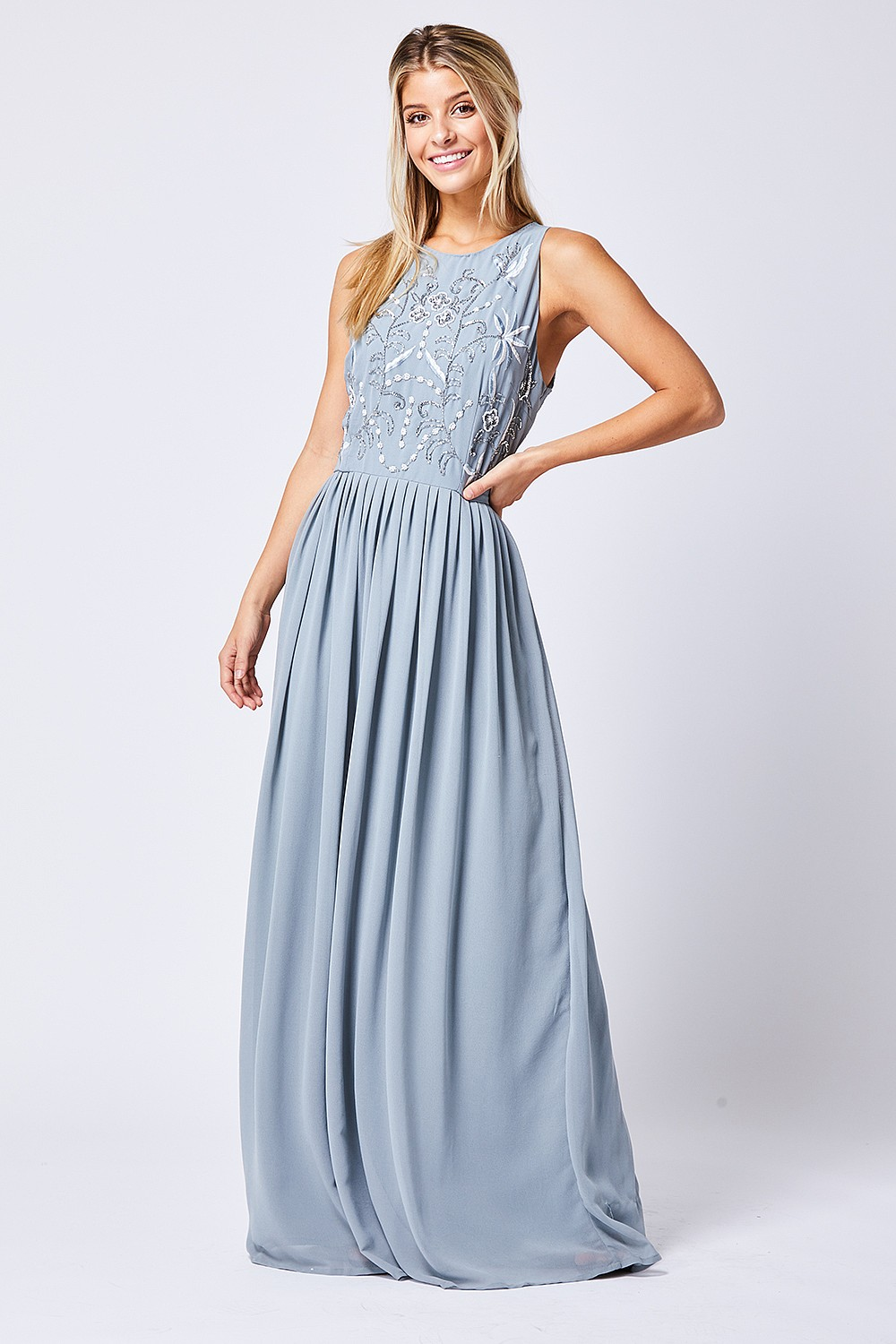 50b5b8785b4c8 Embellished Sleeveless Grey Maxi Dress