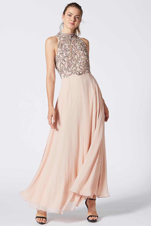 embellished halter neck dress off 18   medpharmres.com