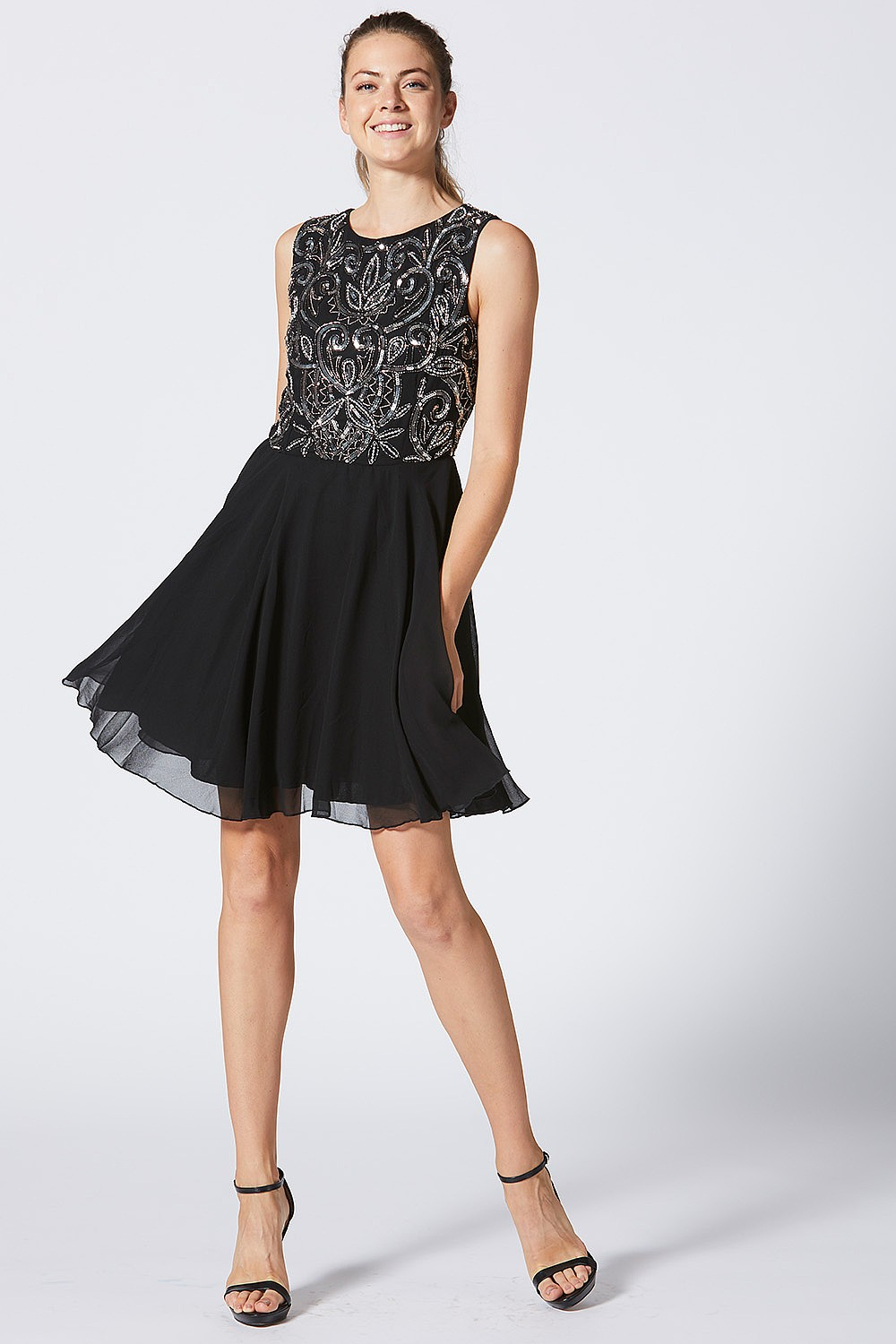 87753d4fcd1 Black Dress with Embellished Bodice and Chiffon Skirt