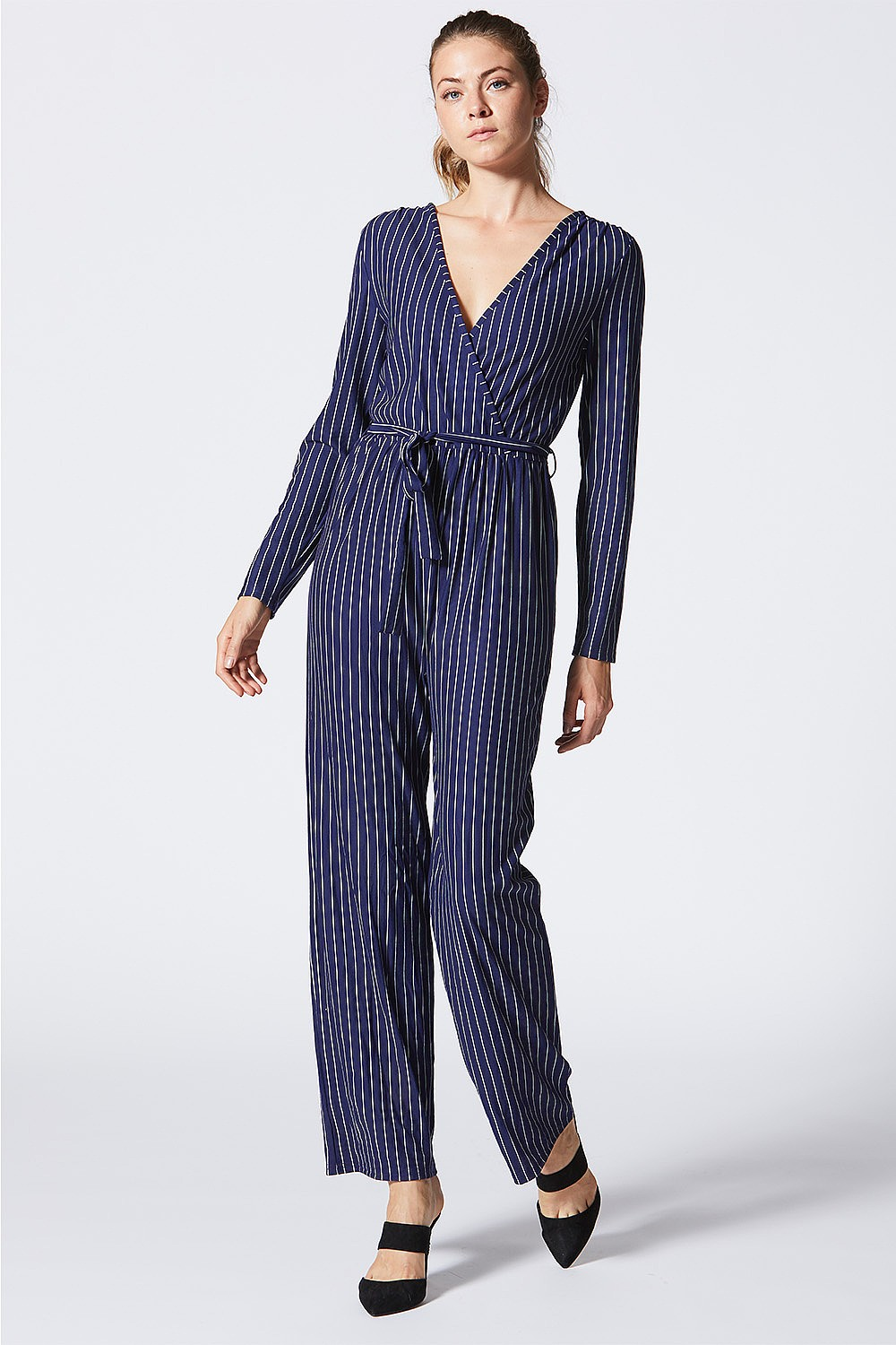 1a71523a1d31 Navy Striped Wrap Front Long Sleeved Jumpsuit