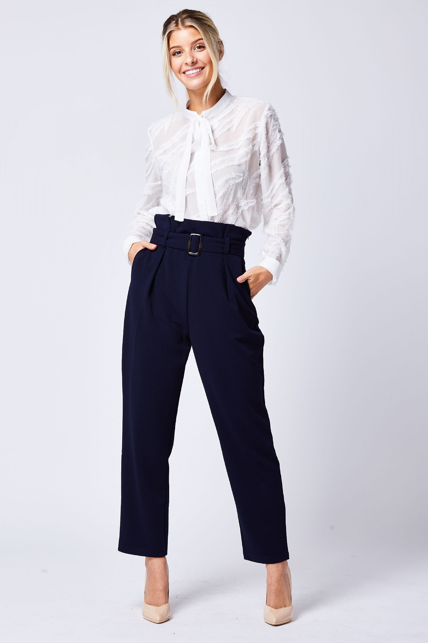 Navy Blue Belted Trousers