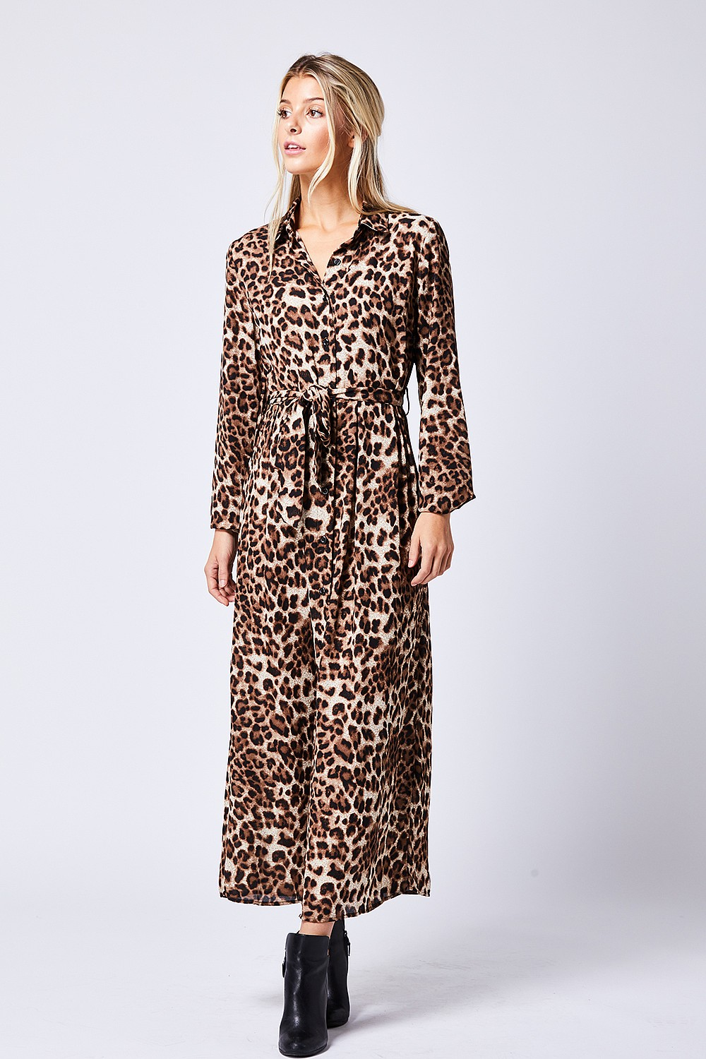 60c233804d Leopard Print Maxi Dress Coffee