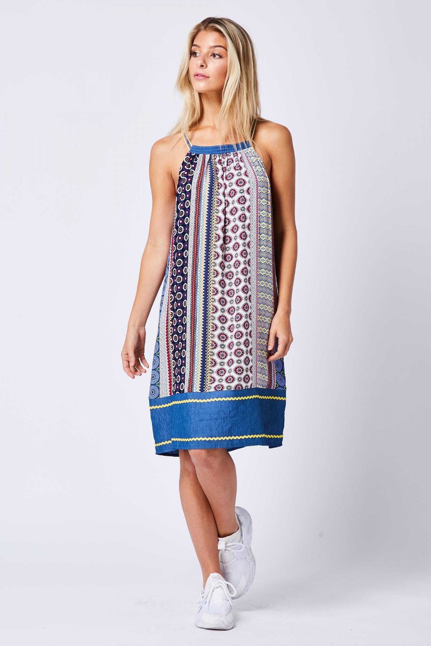 Multi Patterned Halterneck Dress
