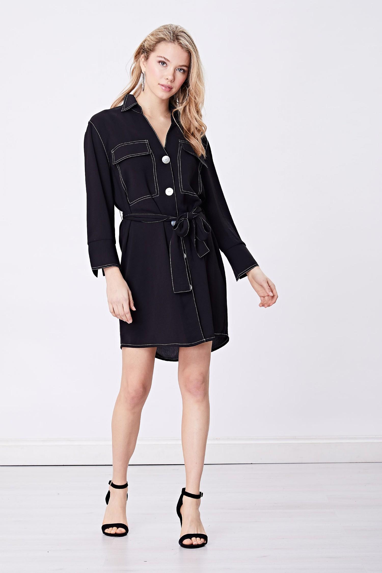 97b3241577b Black Shirt Dress White Buttons