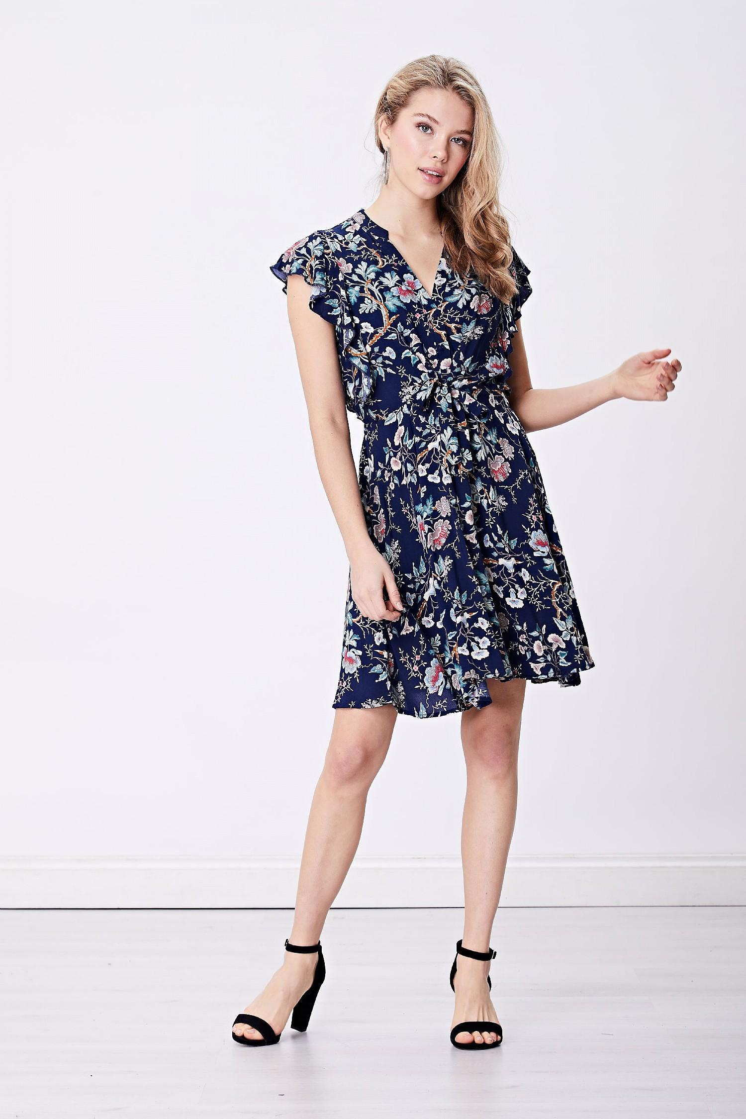 Navy Floral Shirt Mini Dress