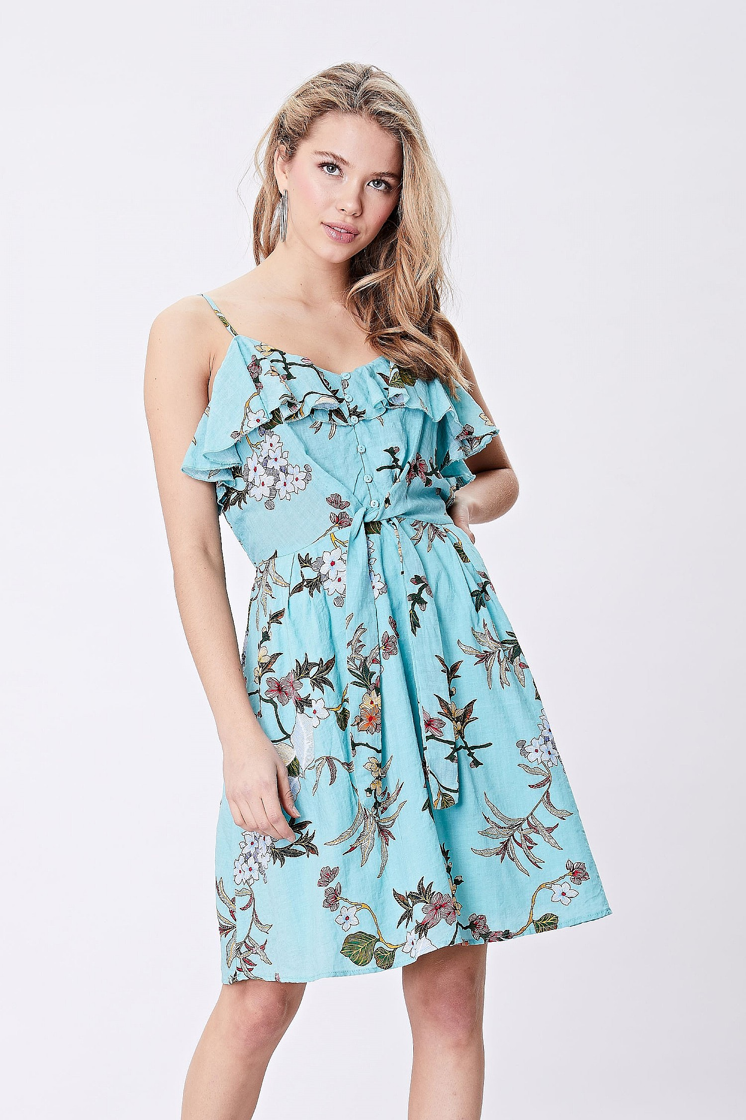 Turquoise Floral Cami Dress