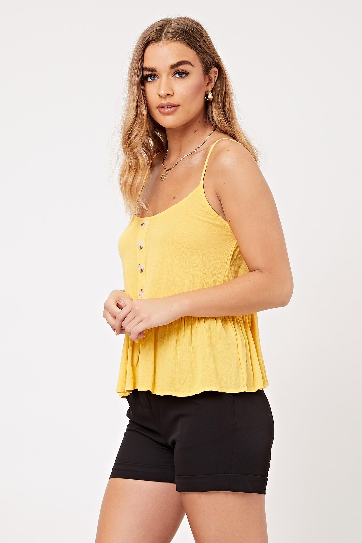 Yellow Ruffle Cami Top