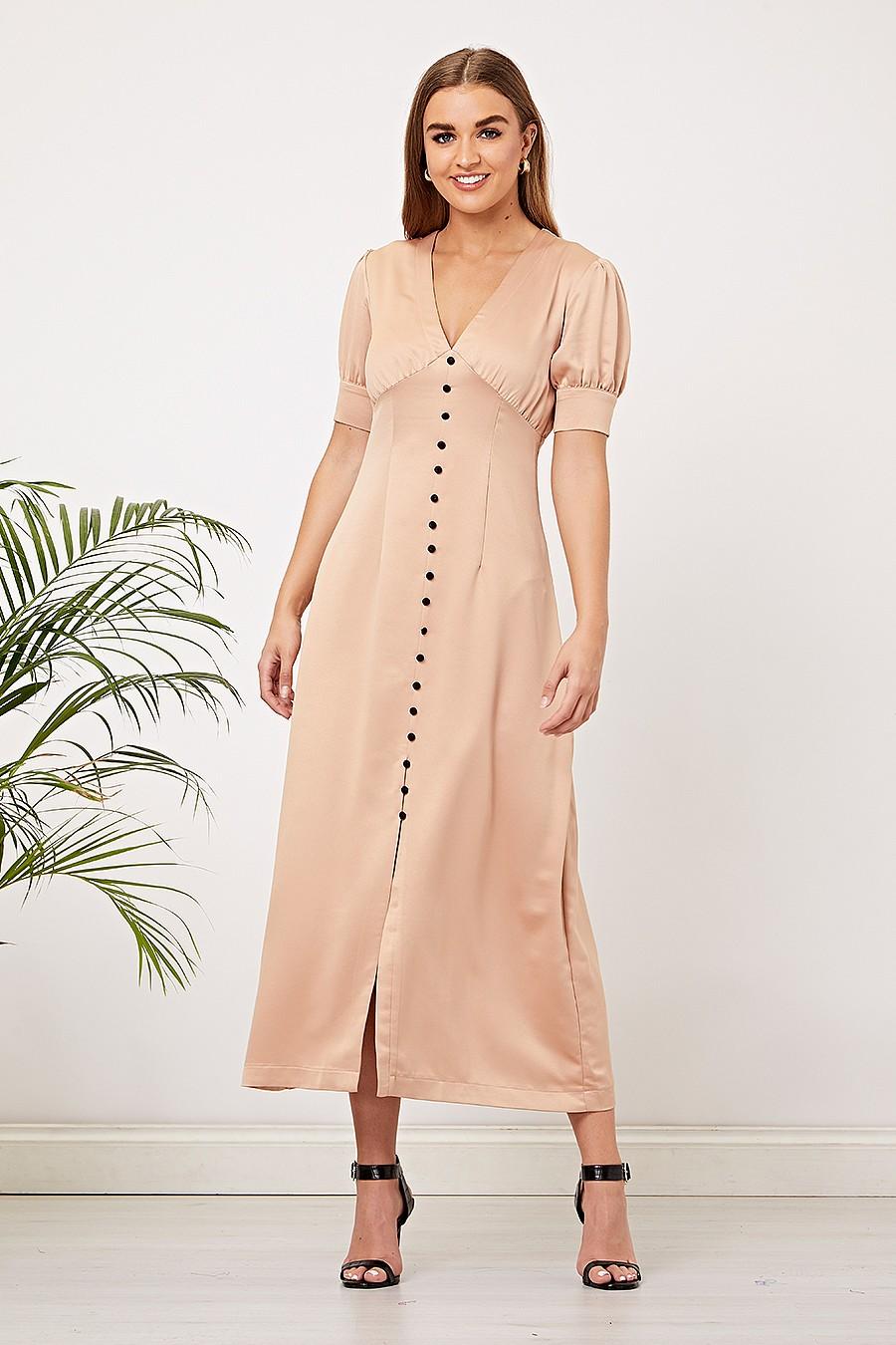 Beige Satin Maxi Dress