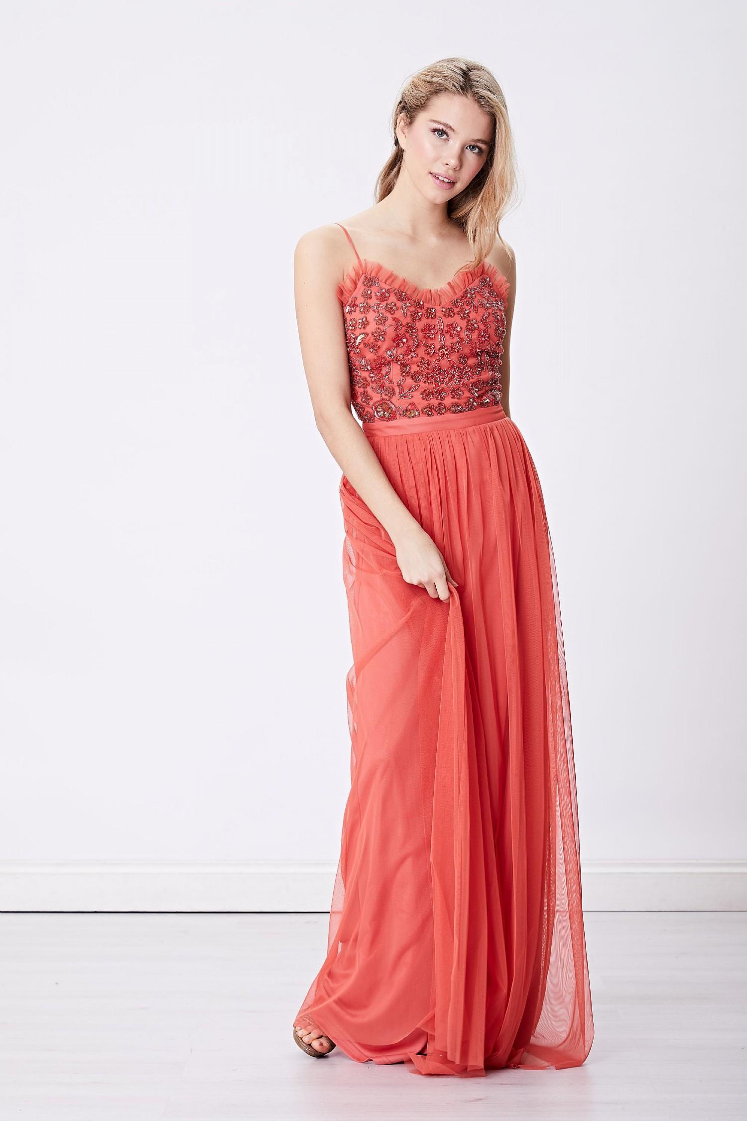 a37d5b1fa7b3 Long Sleeved Embellished Maxi Dress Uk