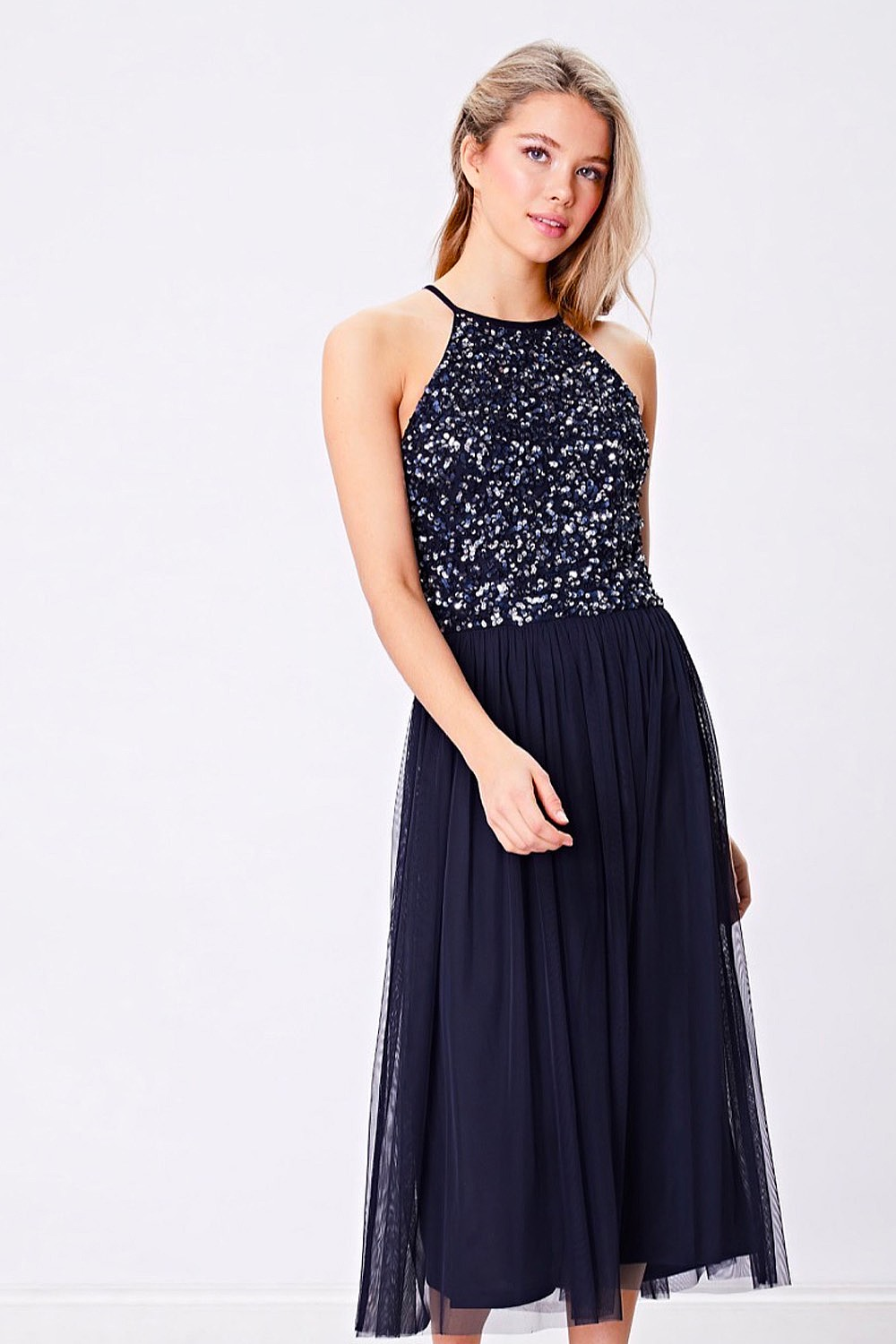 2312c58618c Navy Sequin Embellished Halterneck Midi Dress