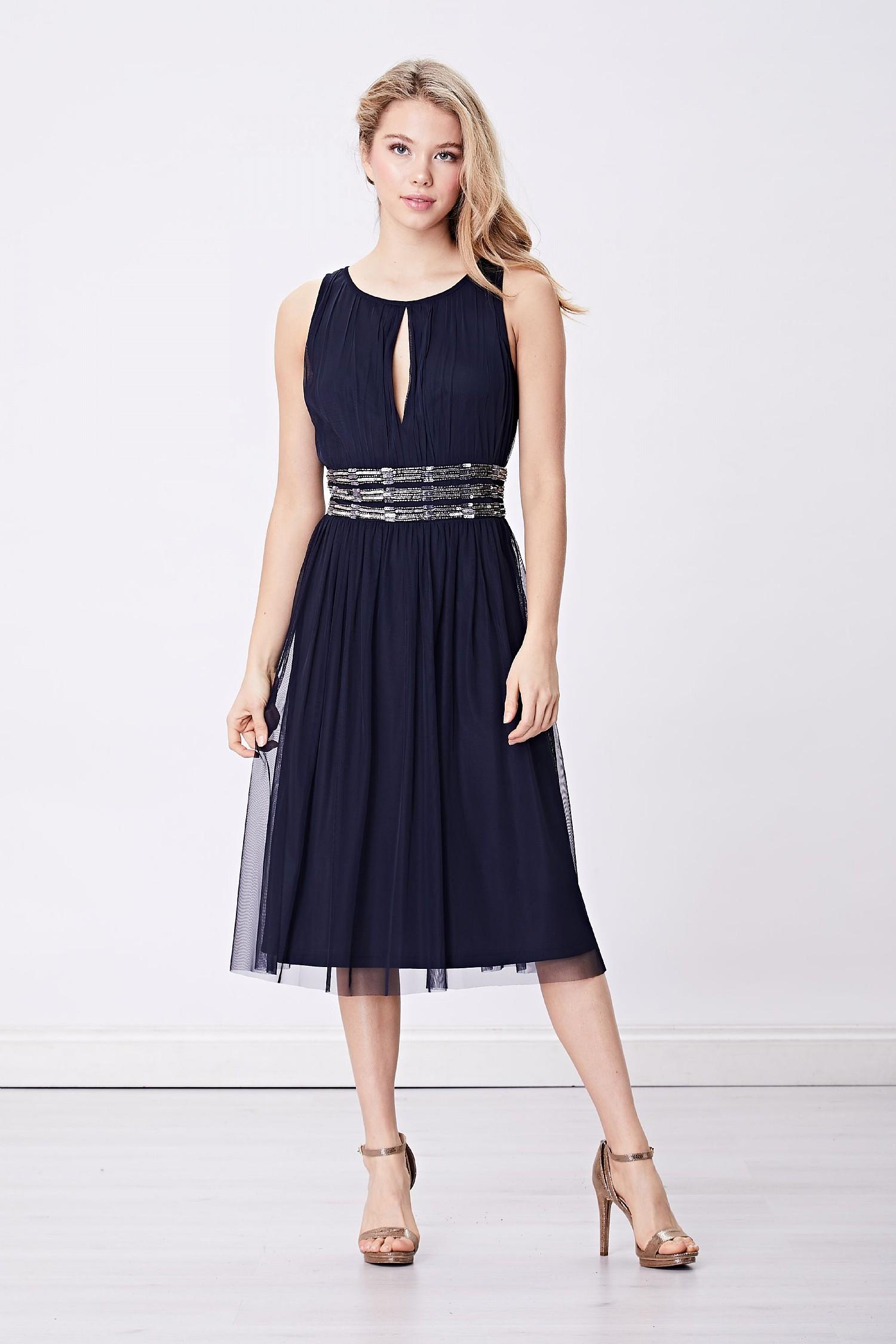 e4230779e0 Navy Keyhole Embellished Waist Midi Dress