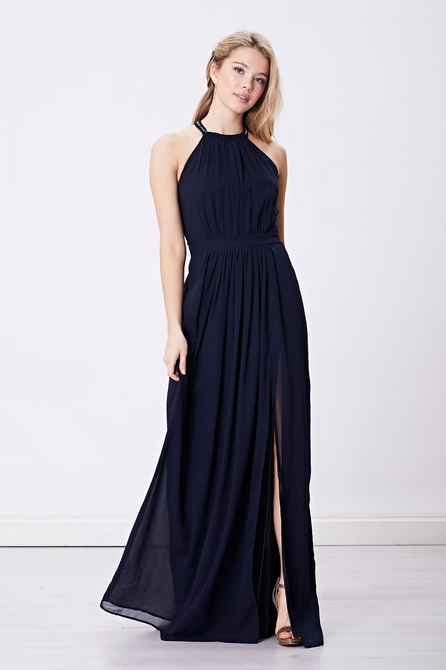 1d0e2a8fdea Navy Halterneck Maxi Dress
