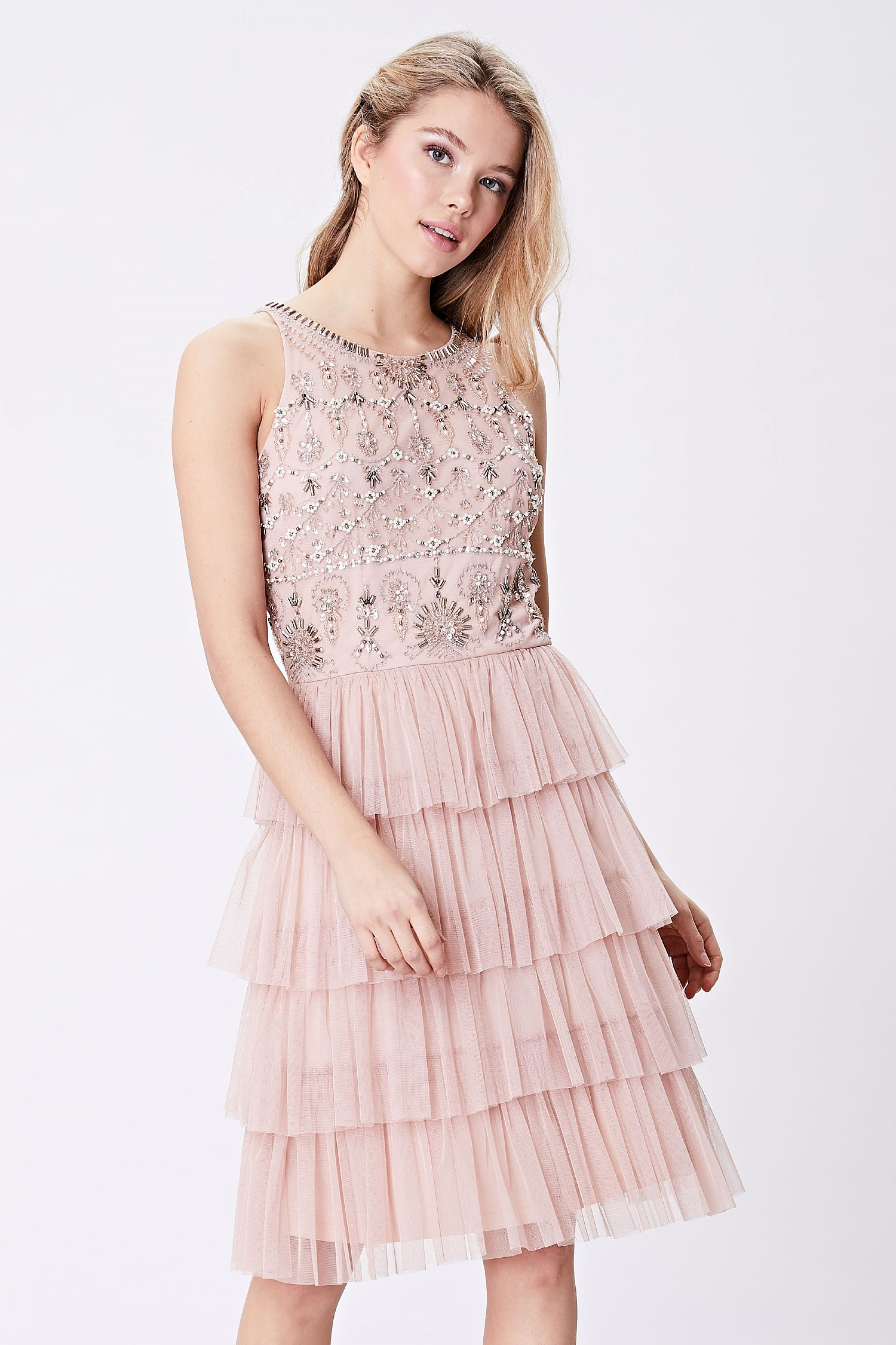 2611856d4ce2cf ANGELEYE Pink Embellished Layered Tulle Mini Dress