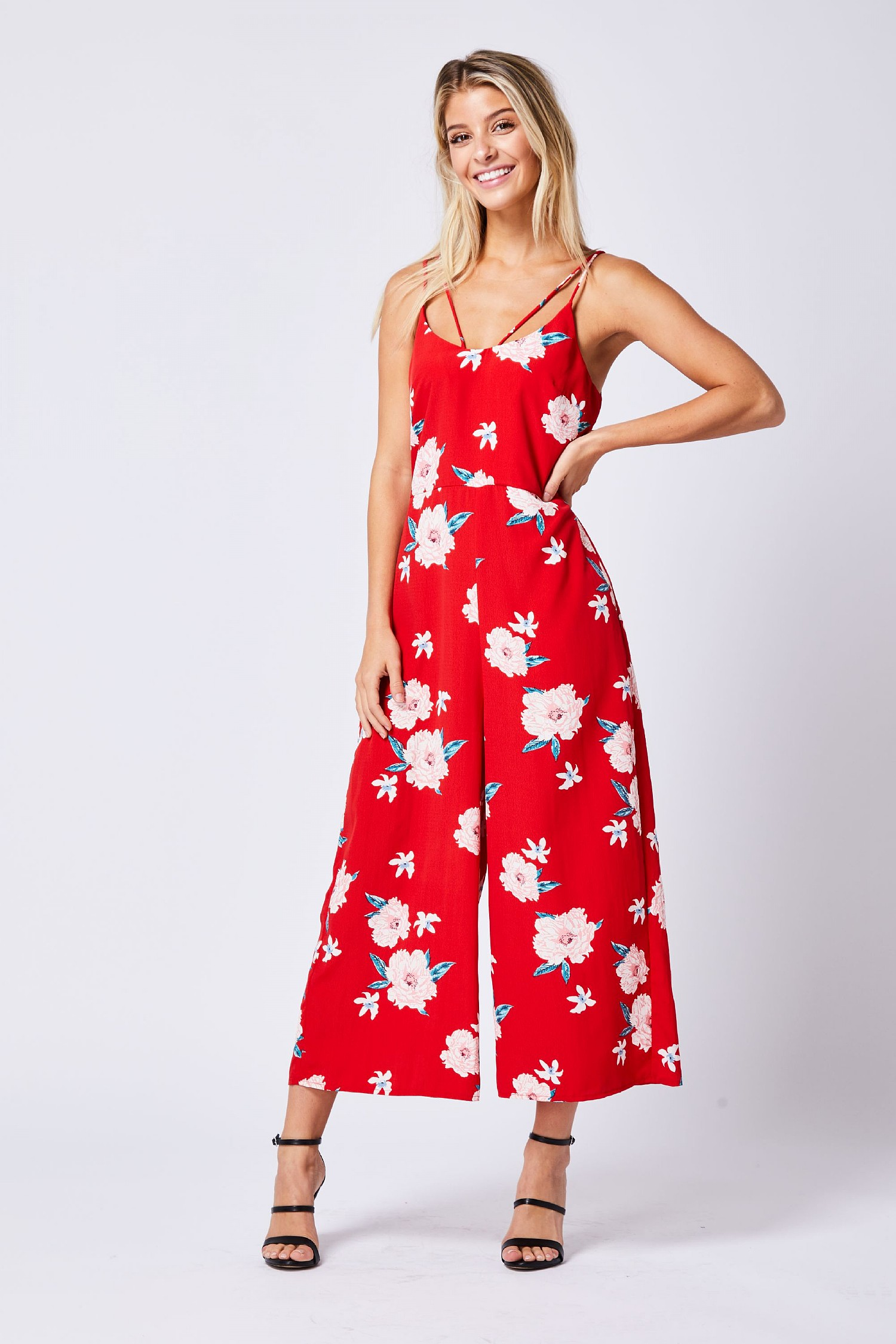 new collection most reliable good service Red Floral Cami Wide Leg Jumpsuit